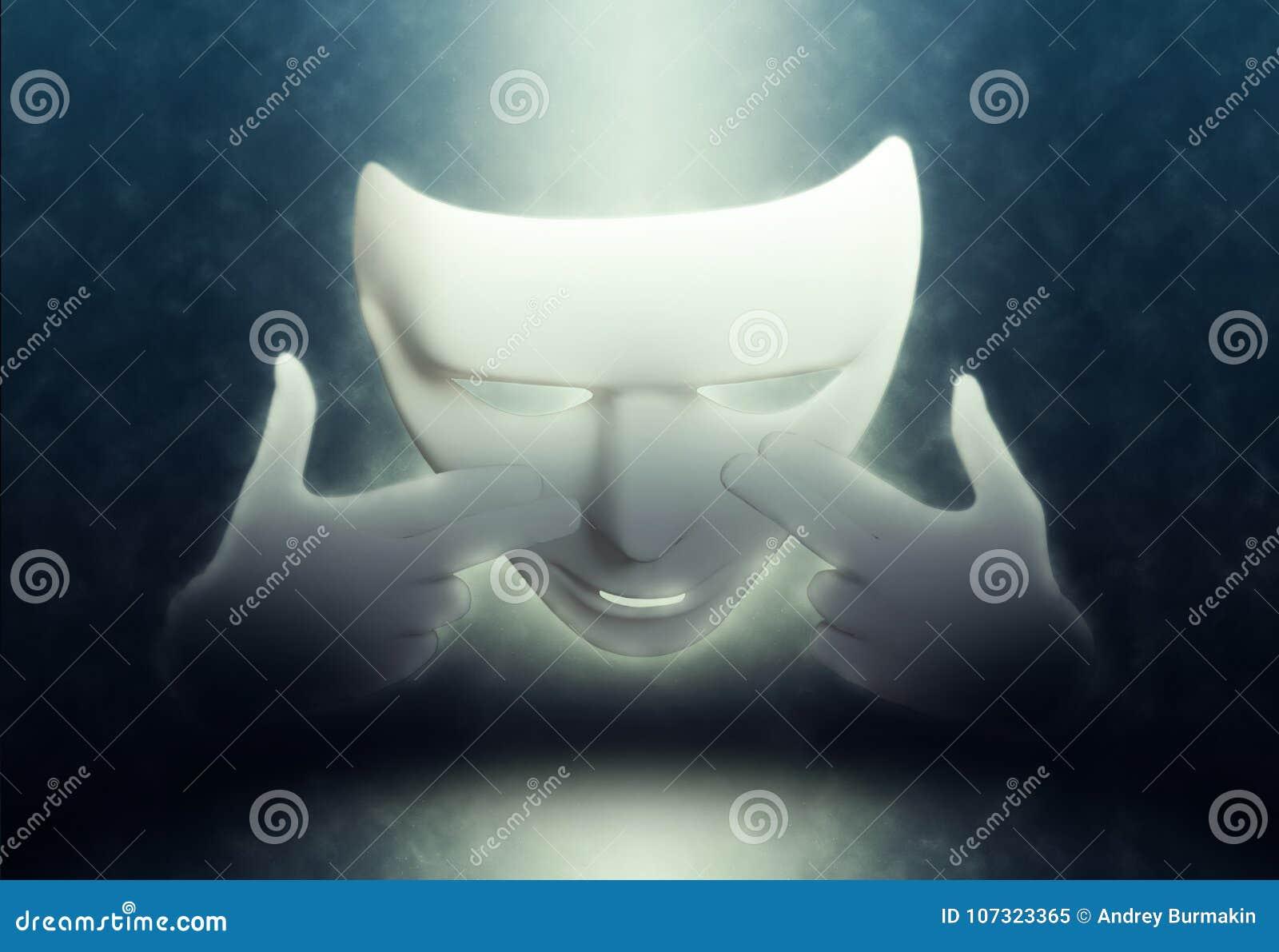 Imite la máscara de teatro blanca en oscuridad