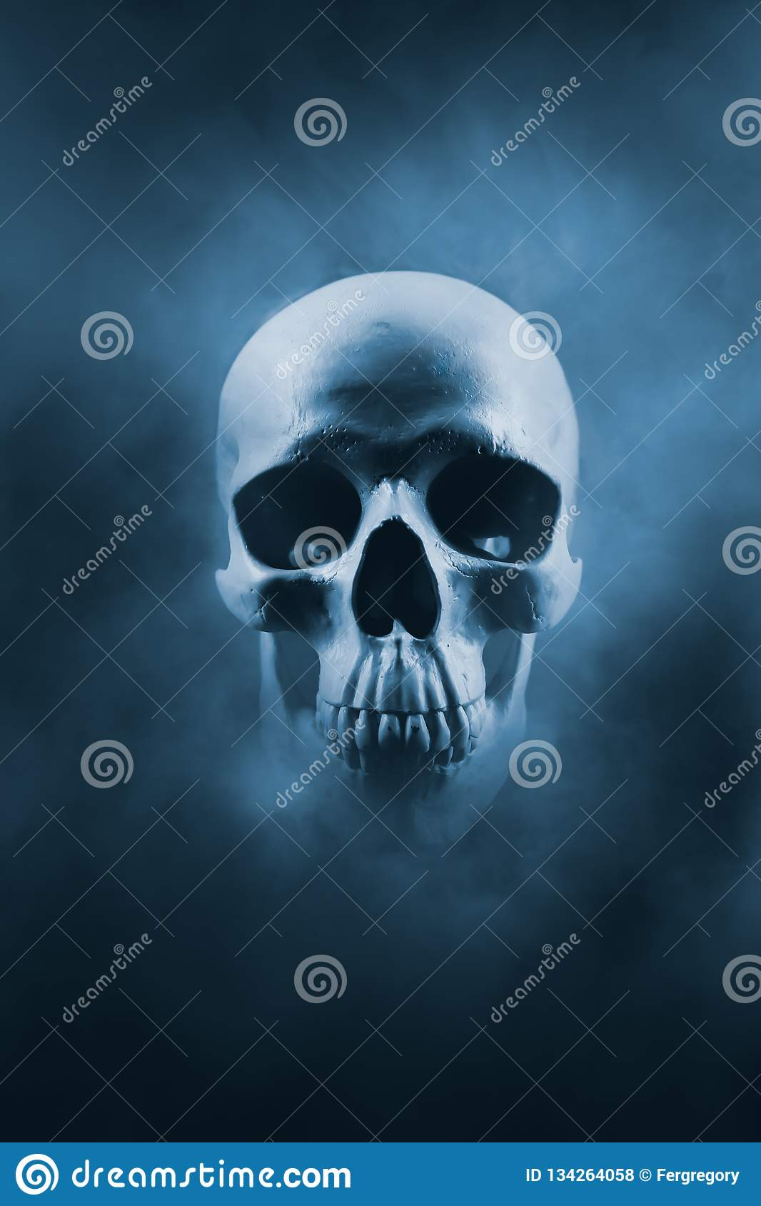Immagine ad alto contrasto di un cranio in una nuvola di fumo