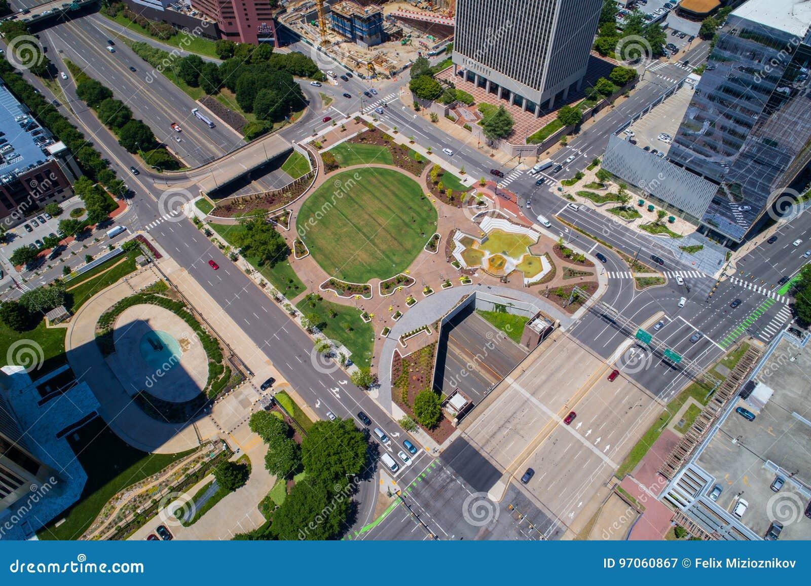 Immagine aerea della plaza Richmond del centro VA di Kanawha