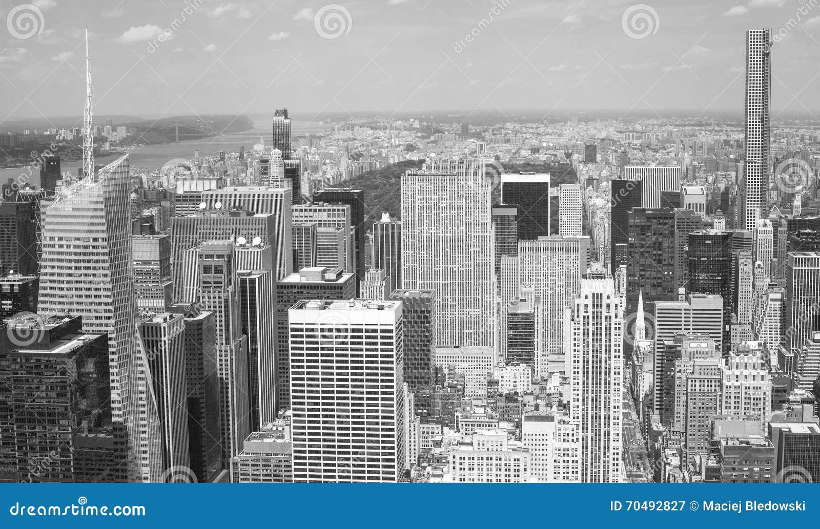 Immagine In Bianco E Nero Aerea Di Manhattan, New York Immagine ...