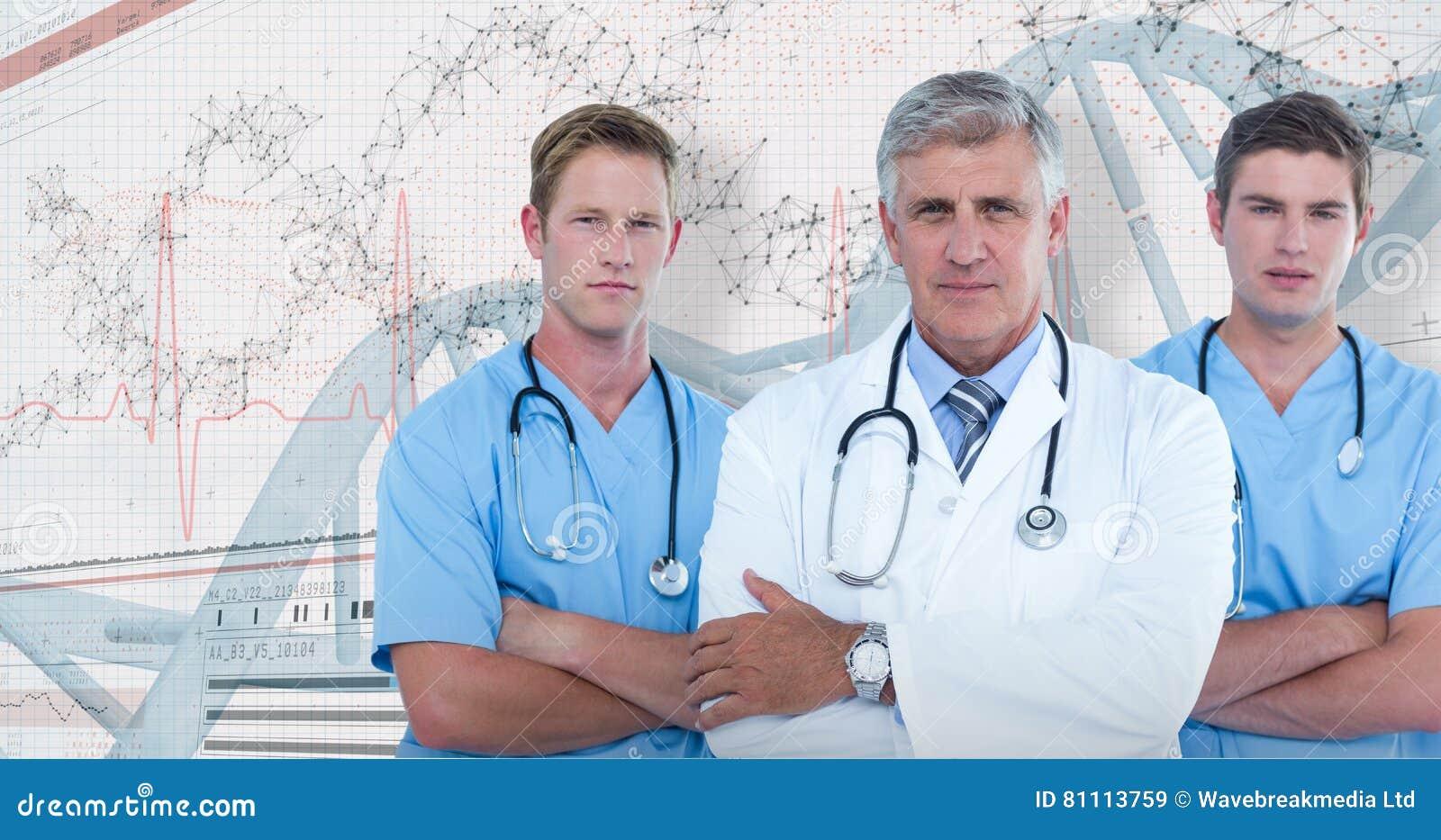 Immagine composita 3D del ritratto di medico maschio sicuro con i chirurghi