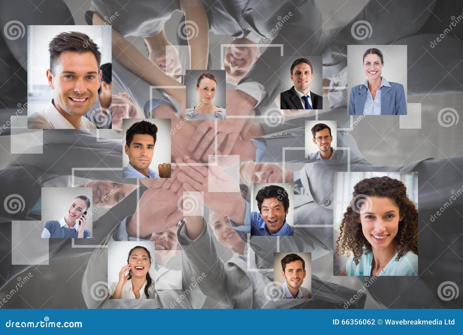 Immagine composita del gruppo sorridente di affari che sta insieme in mani del cerchio