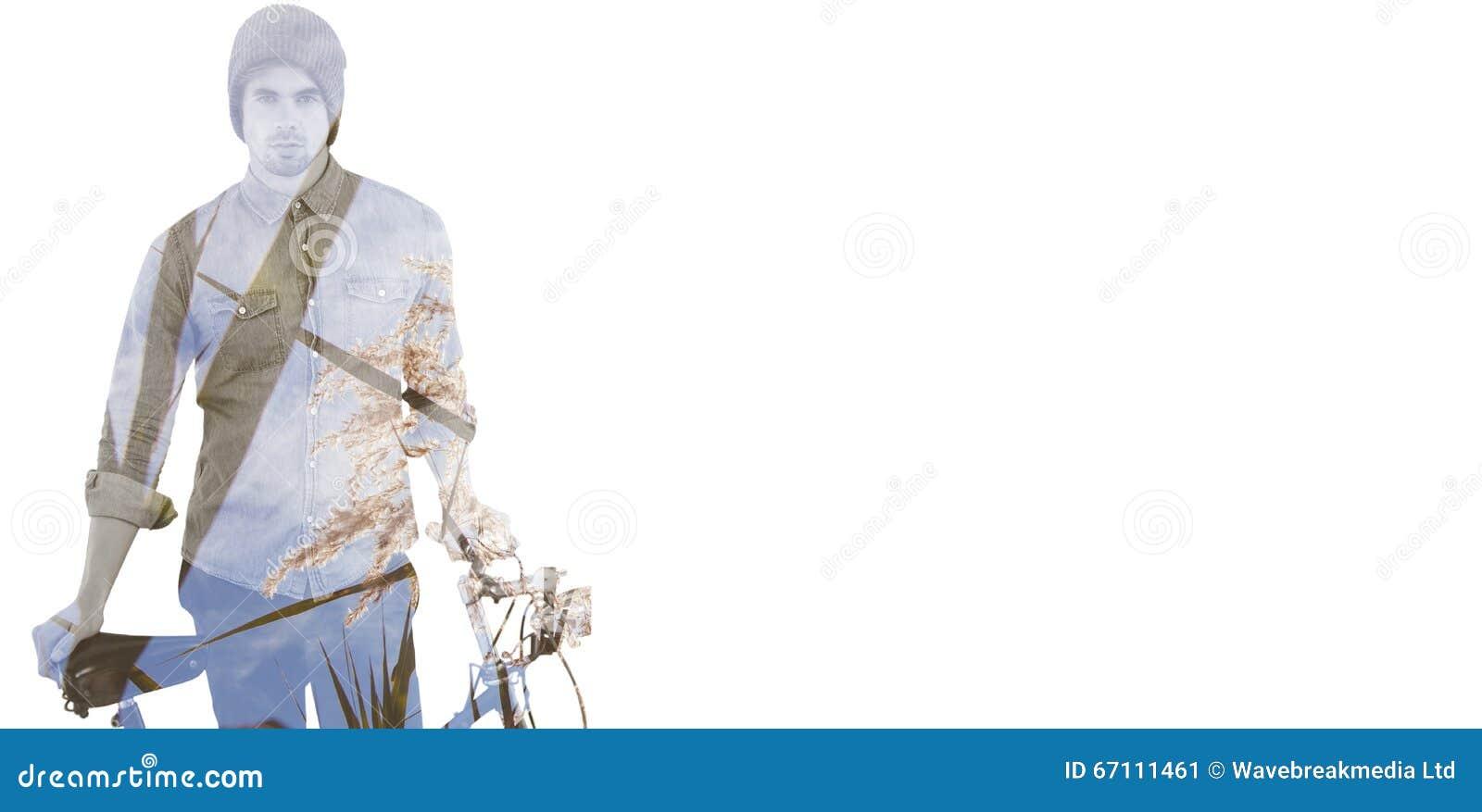 Immagine composita del ritratto dei pantaloni a vita bassa che indossa il supporto tricottato del cappello