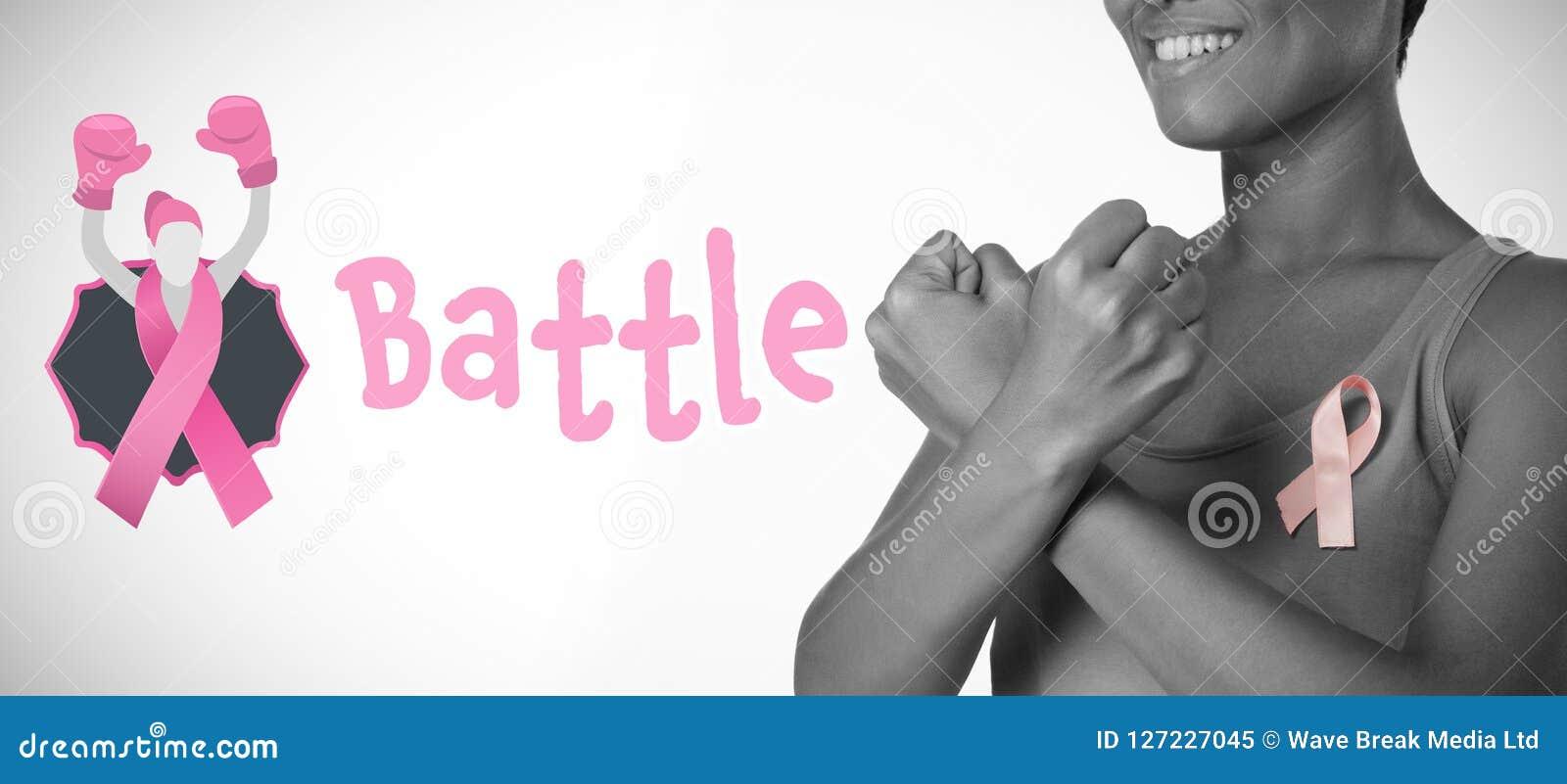 Immagine composita del testo di battaglia con il nastro femminile di consapevolezza del cancro al seno e di somiglianza