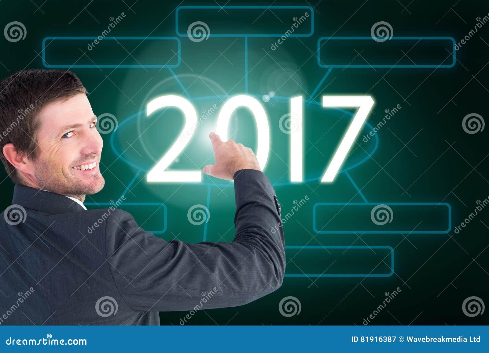 Immagine composita dell uomo d affari che indica con il suo dito