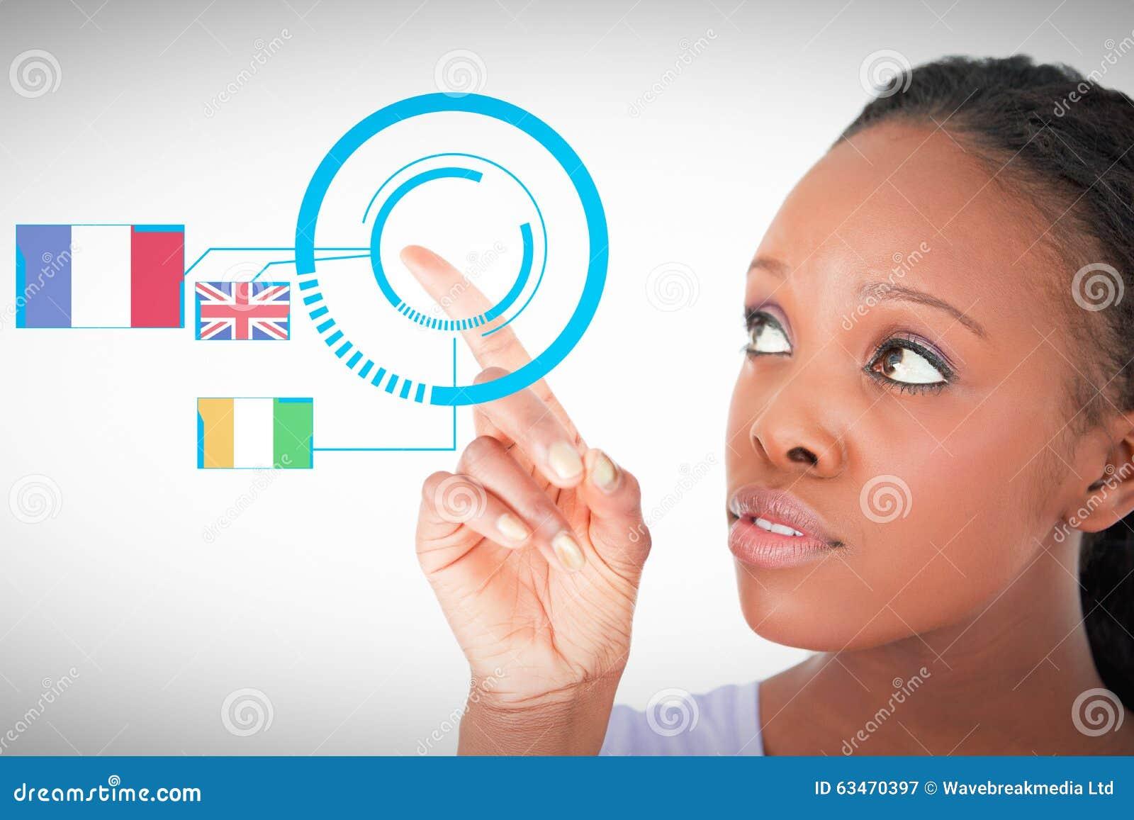 Immagine composita della fine su della donna che indica a qualcosa accanto lei su un fondo bianco