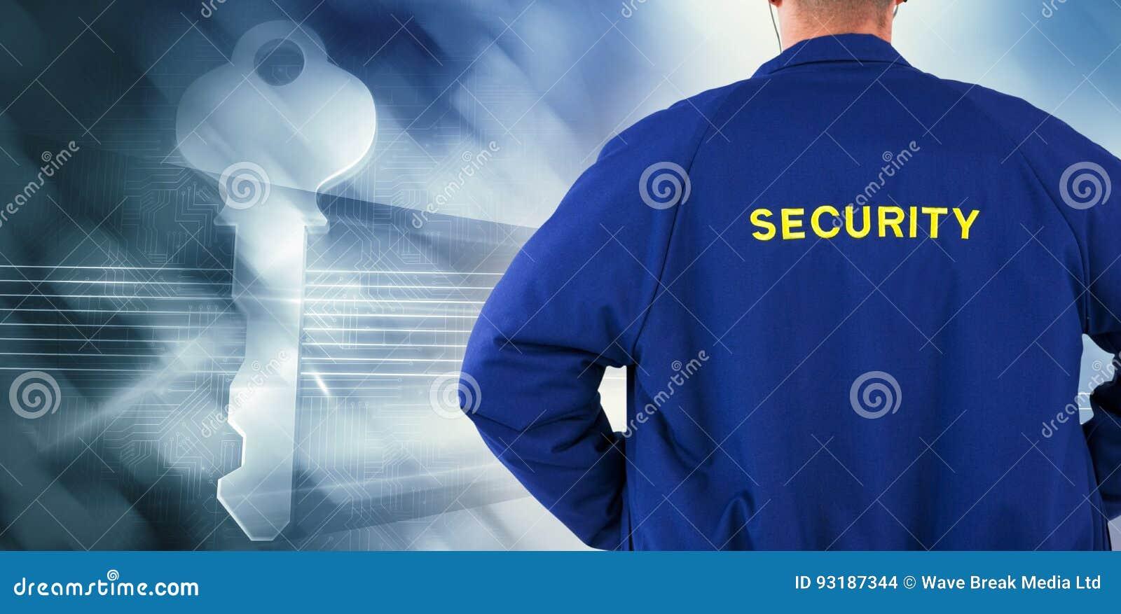 Immagine composita della retrovisione del funzionario di sicurezza in uniforme