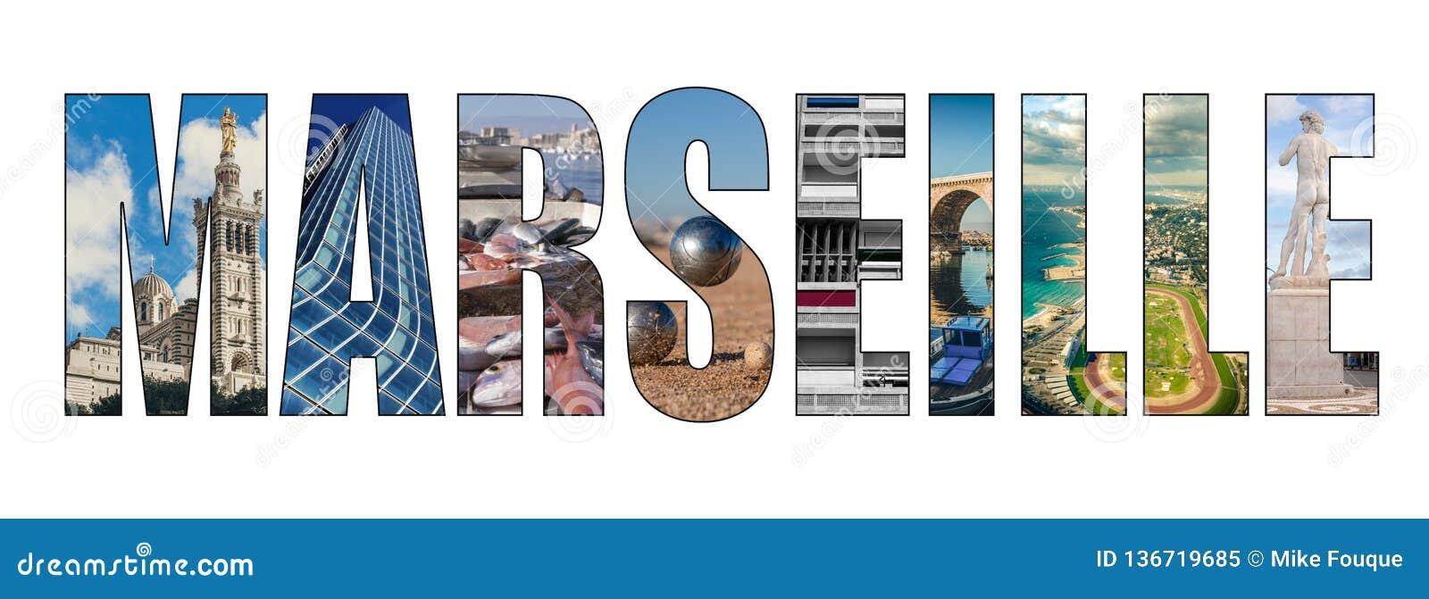 Immagine composita delle lettere di titolo della città di Marsiglia