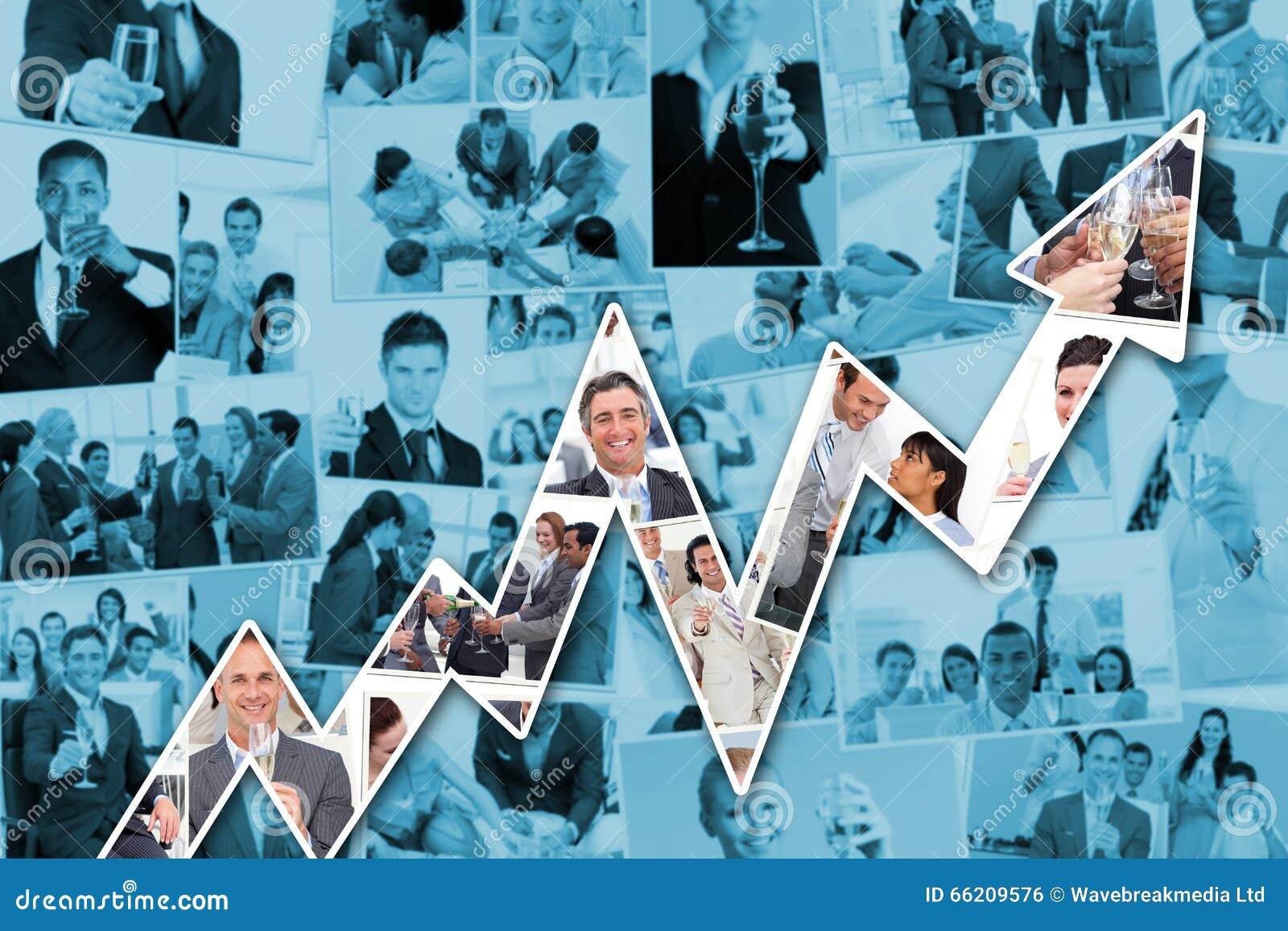 Immagine composita di collage degli uomini d affari che tostano e che bevono champagne