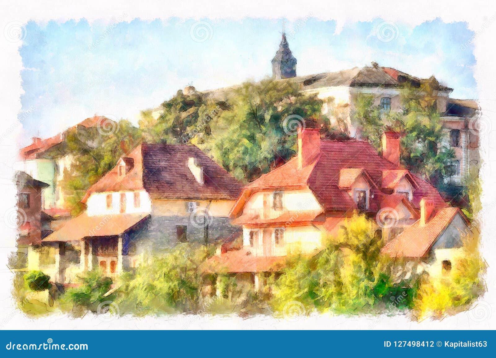 Immagine del centro digitalmente elaborata nello stile dell acquerello