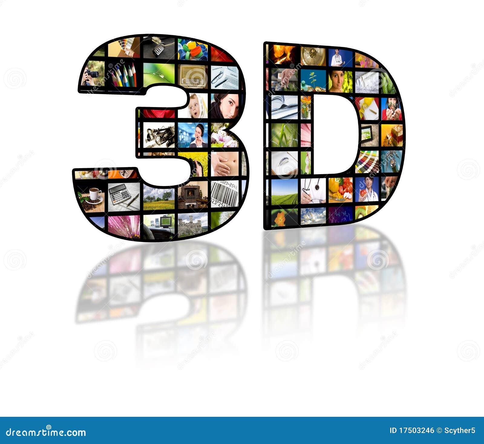 Immagine di concetto della televisione 3D. Comitati di film della TV
