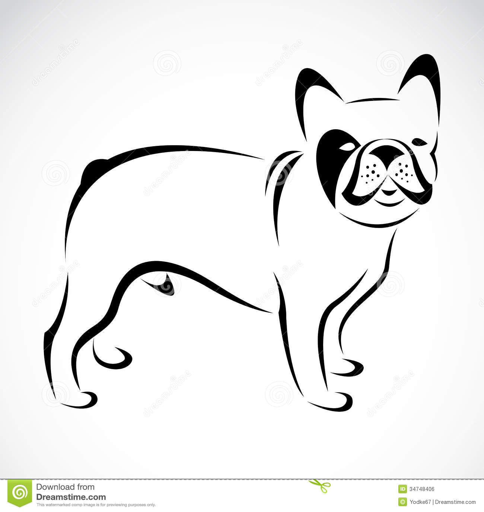 Immagine di vettore di un cane bulldog illustrazione - Colorazione immagine di un cane ...