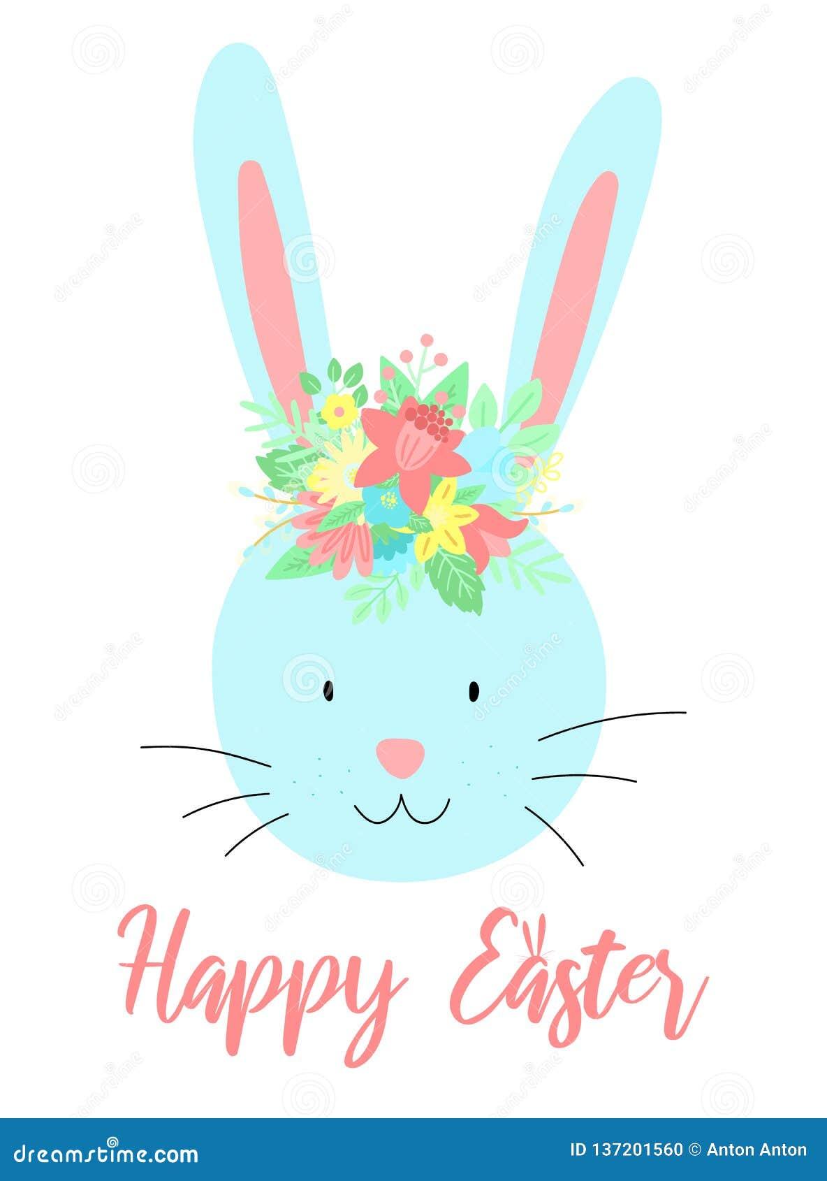 Immagine di vettore di un coniglio sveglio con i fiori sulla testa con un iscrizione Illustrazione disegnata a mano di Pasqua di