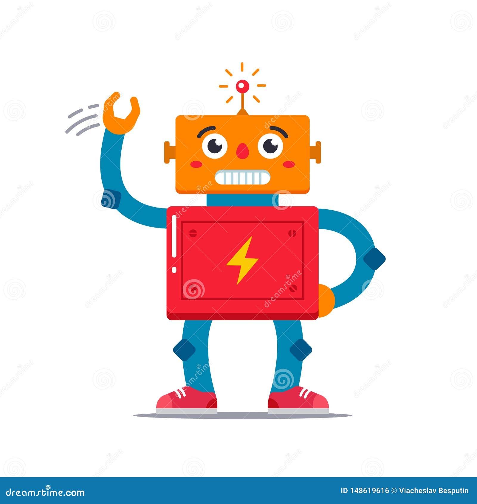 Immagine di vettore di un robot sveglio che ondeggia
