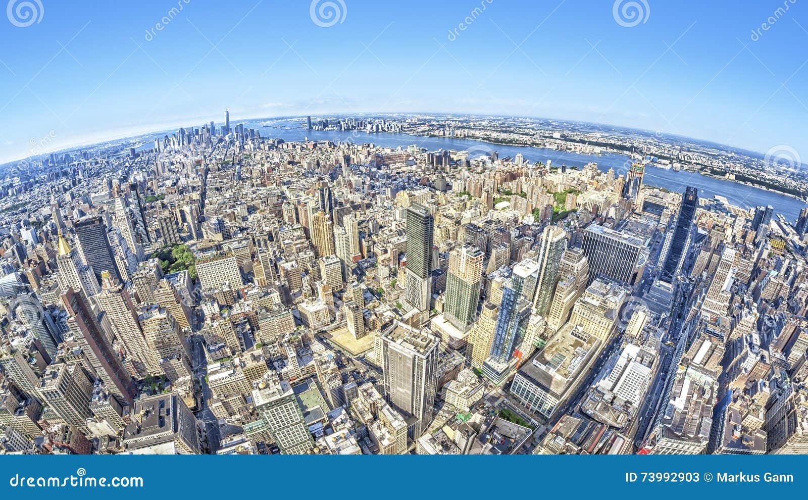 Immagine Grandangolare Di New York Manhattan Immagine Stock ...