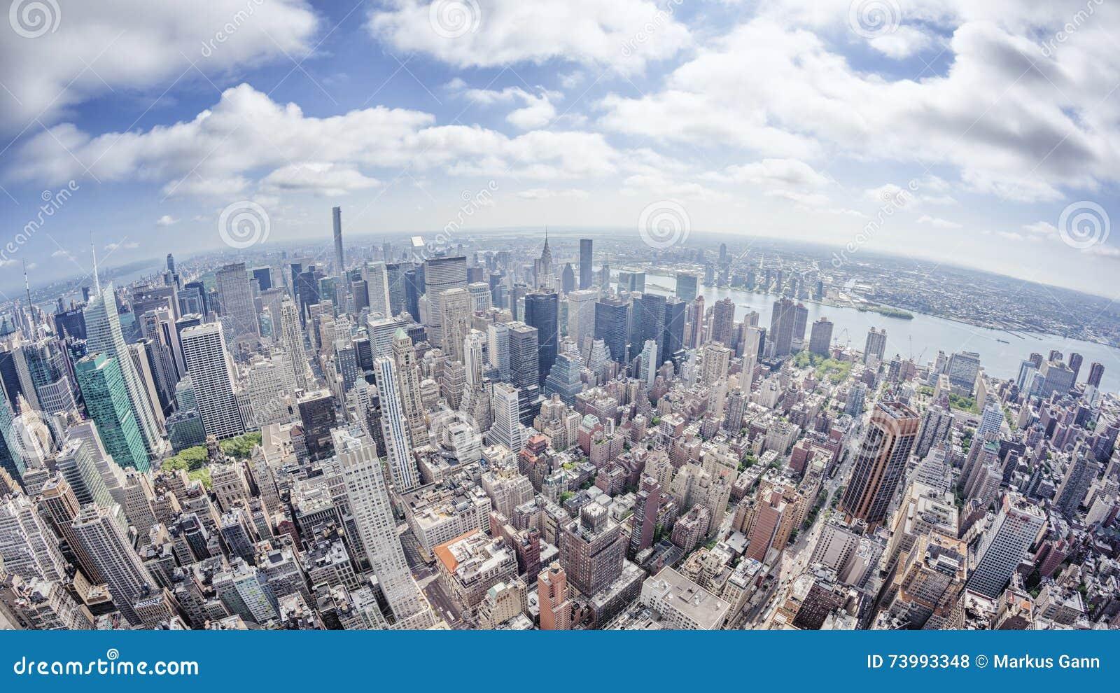 Immagine Grandangolare Di New York Manhattan Fotografia Stock ...