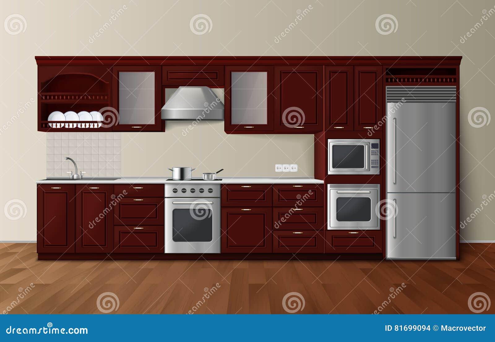 Immagine Interna Realistica Scura Della Cucina Di Lusso ...