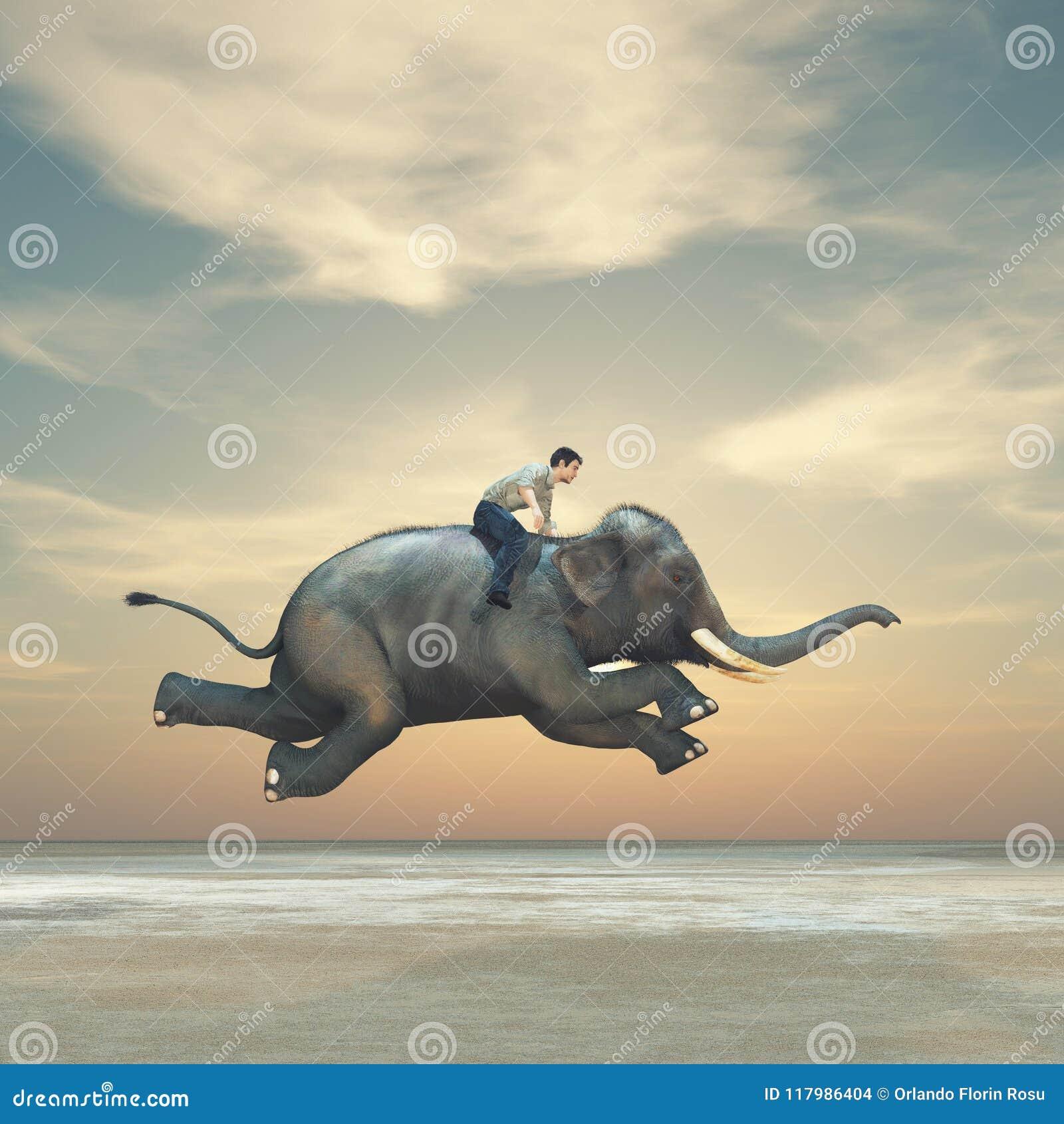 Immagine surreale di un uomo che guida un elefante