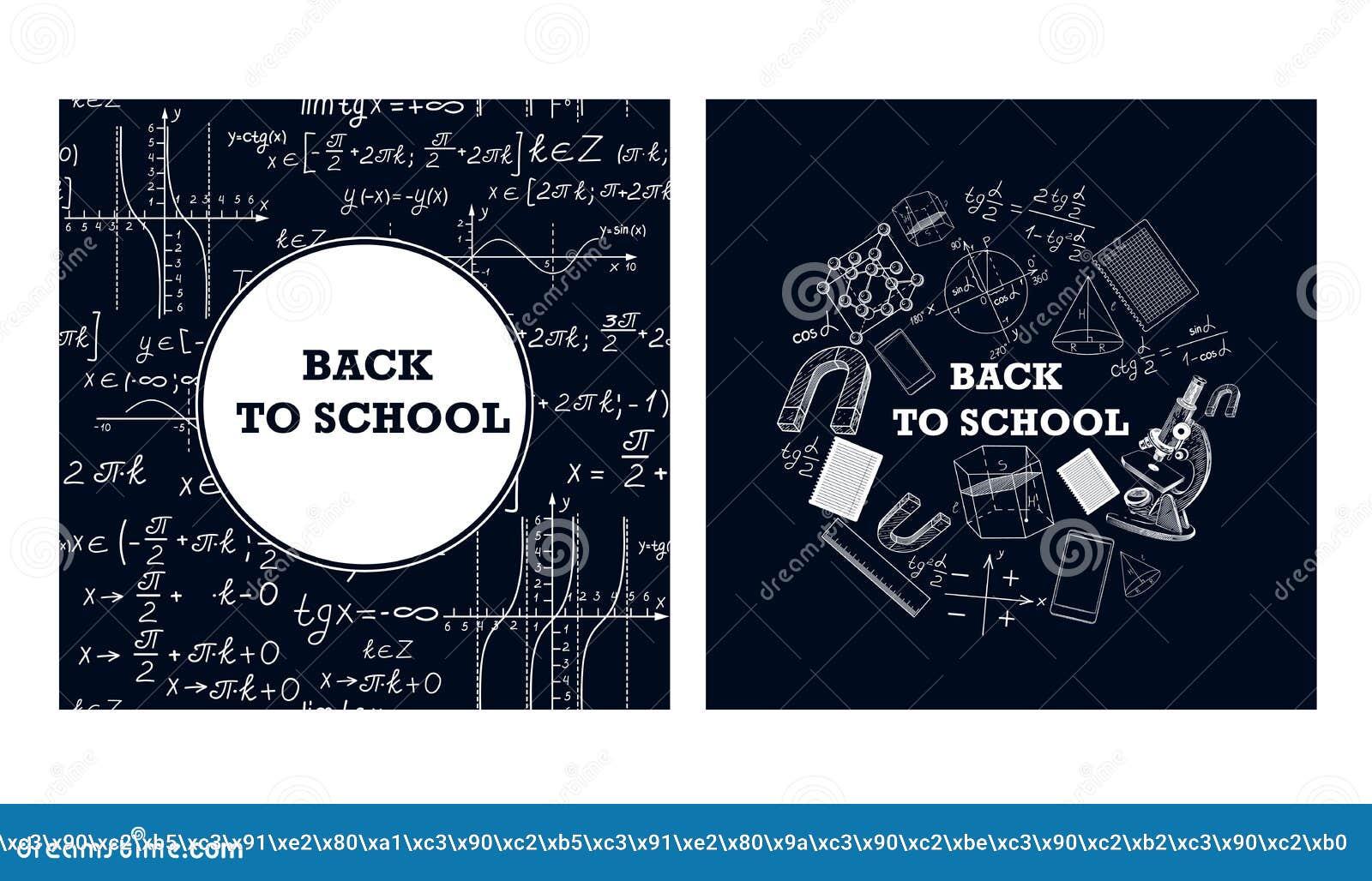 Immagini degli strumenti educativi e delle formule su un bordo di gesso