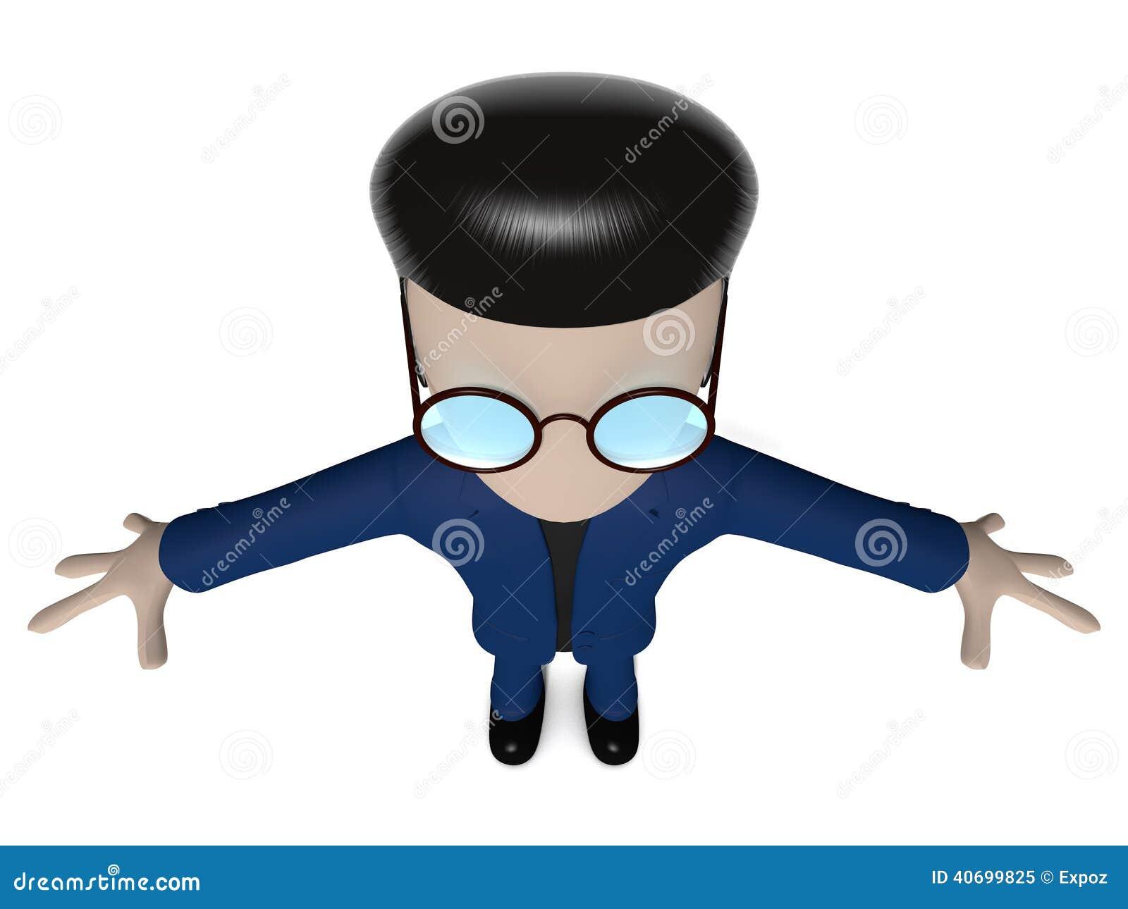 Rendering 3d del personaggio dei cartoni animati con occhiali