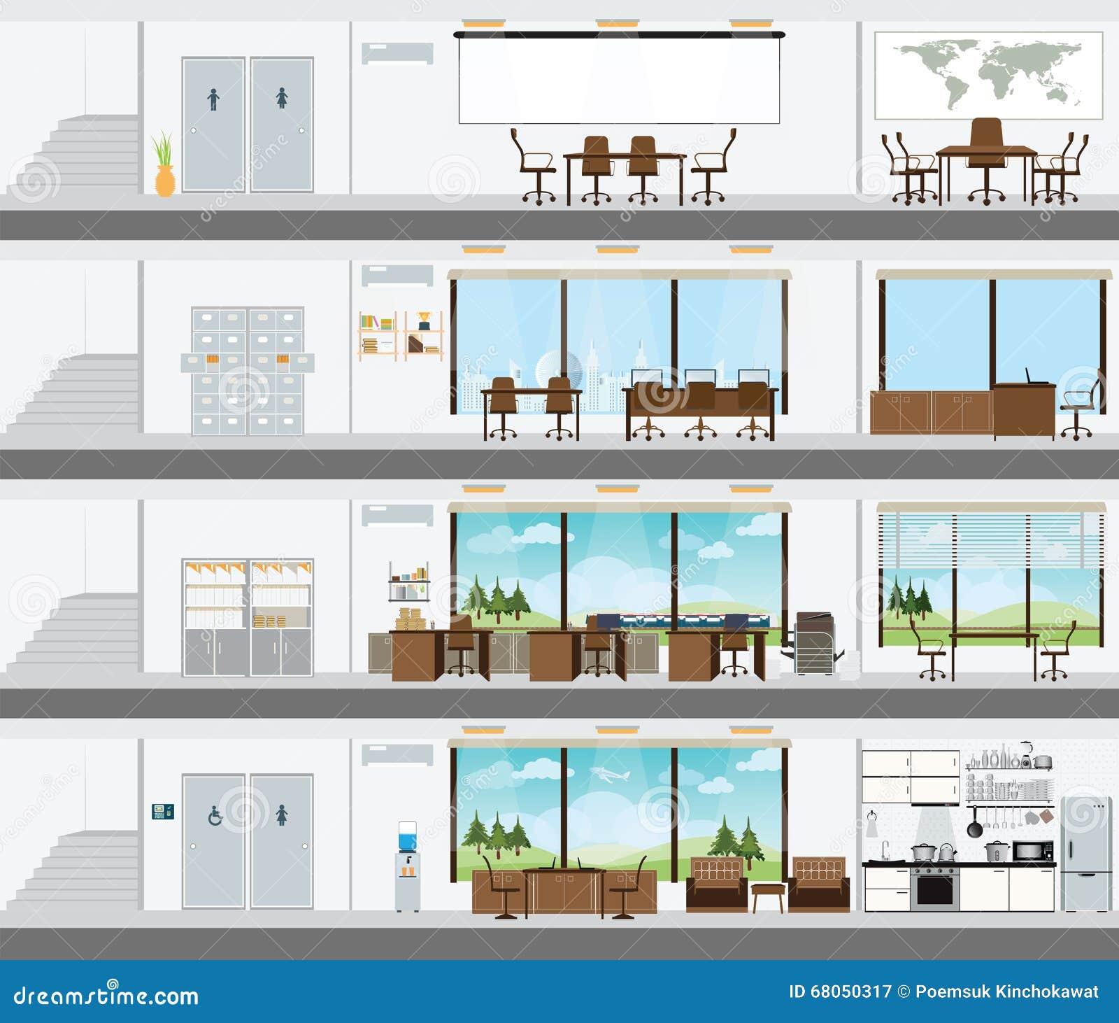 Immeuble de bureaux coup avec le plan de d veloppement for Immeuble bureau plan