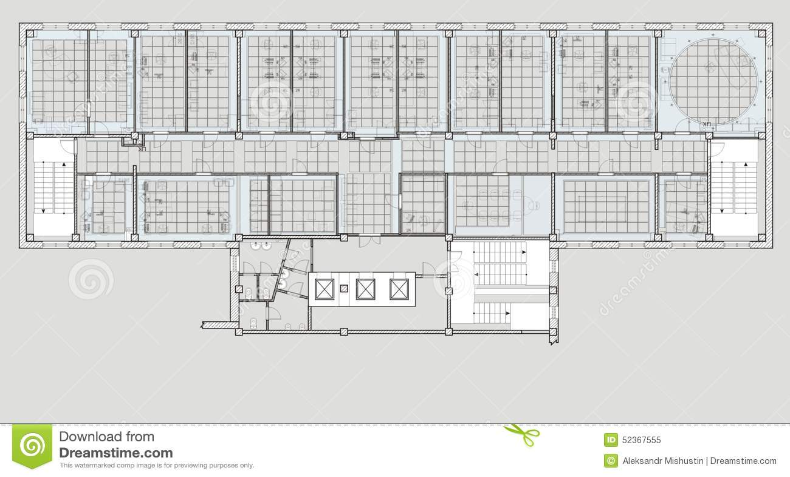 immeuble de bureaux de plan illustration stock