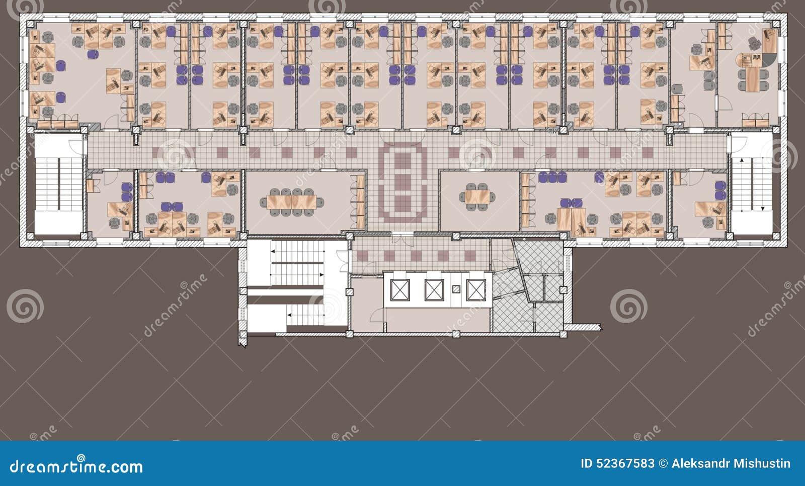 immeuble de bureaux de plan illustration stock illustration du bureau contemporain 52367583. Black Bedroom Furniture Sets. Home Design Ideas