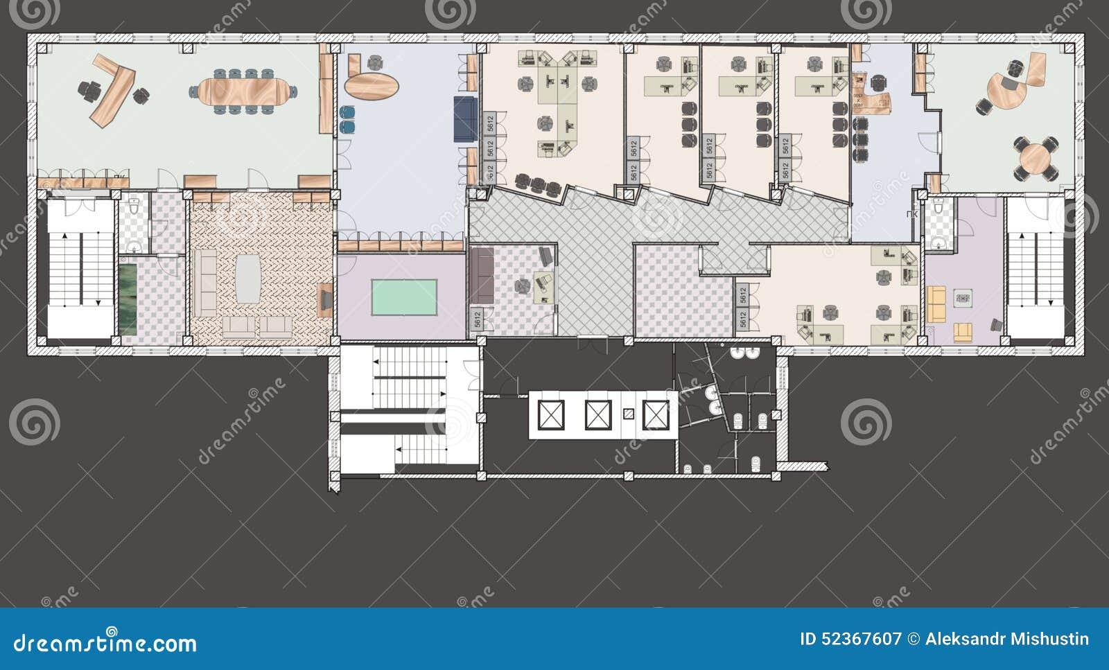 immeuble de bureaux de plan illustration stock image 52367607. Black Bedroom Furniture Sets. Home Design Ideas