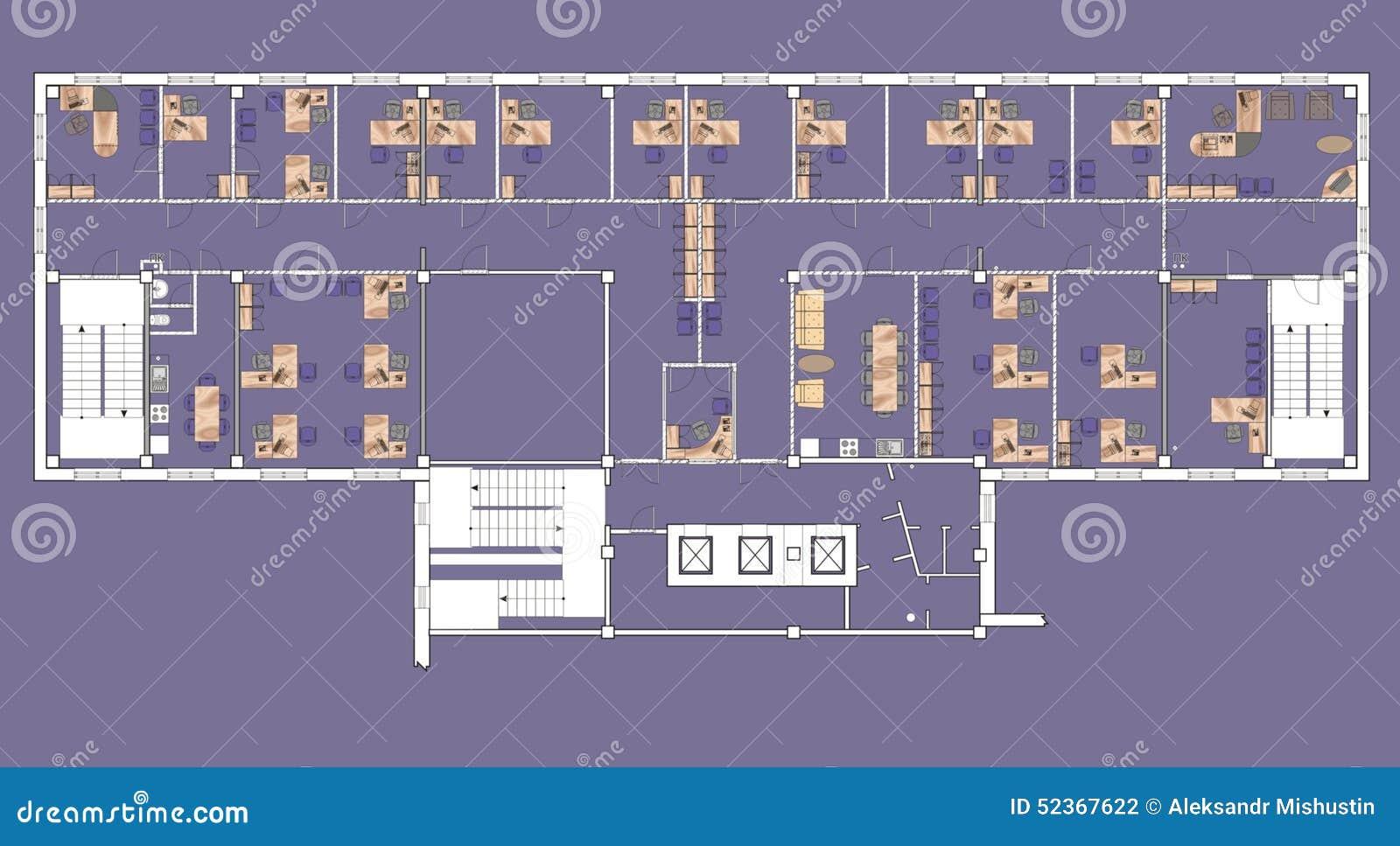 Immeuble de bureaux de plan illustration stock illustration du