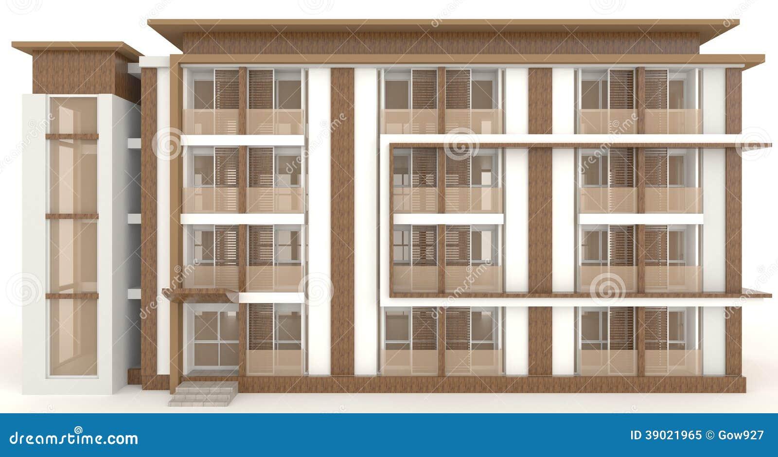 Immeuble des bureaux 3d en bois ext rieur dans le blanc for Immeuble bureaux structure bois