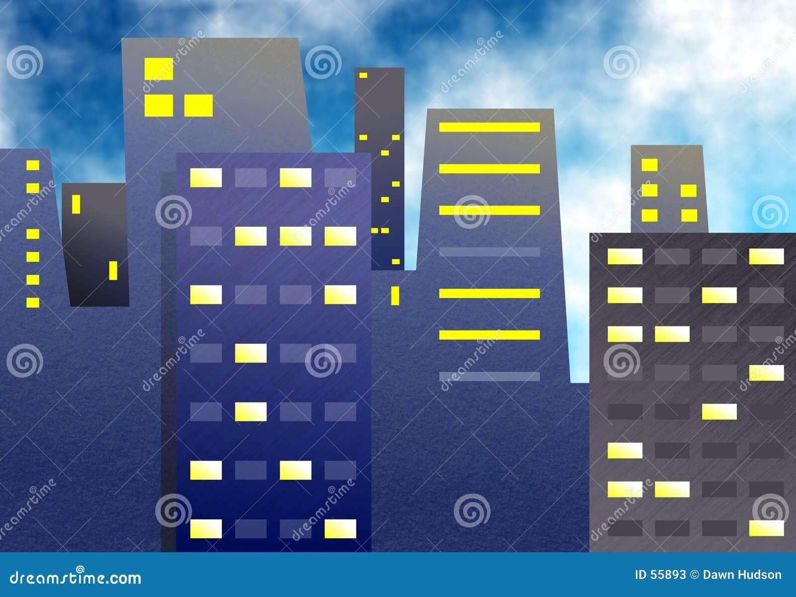 Download Immeubles de bureaux illustration stock. Illustration du lumières - 55893