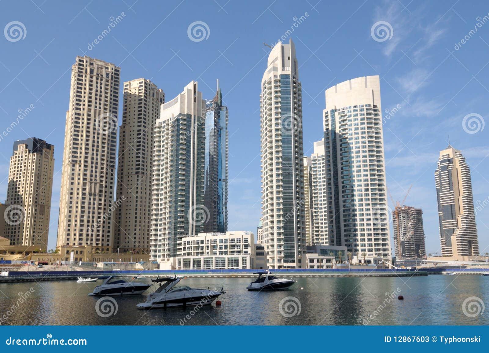 immeubles de luxe la marina de duba image stock image du neuf urbain 12867603. Black Bedroom Furniture Sets. Home Design Ideas