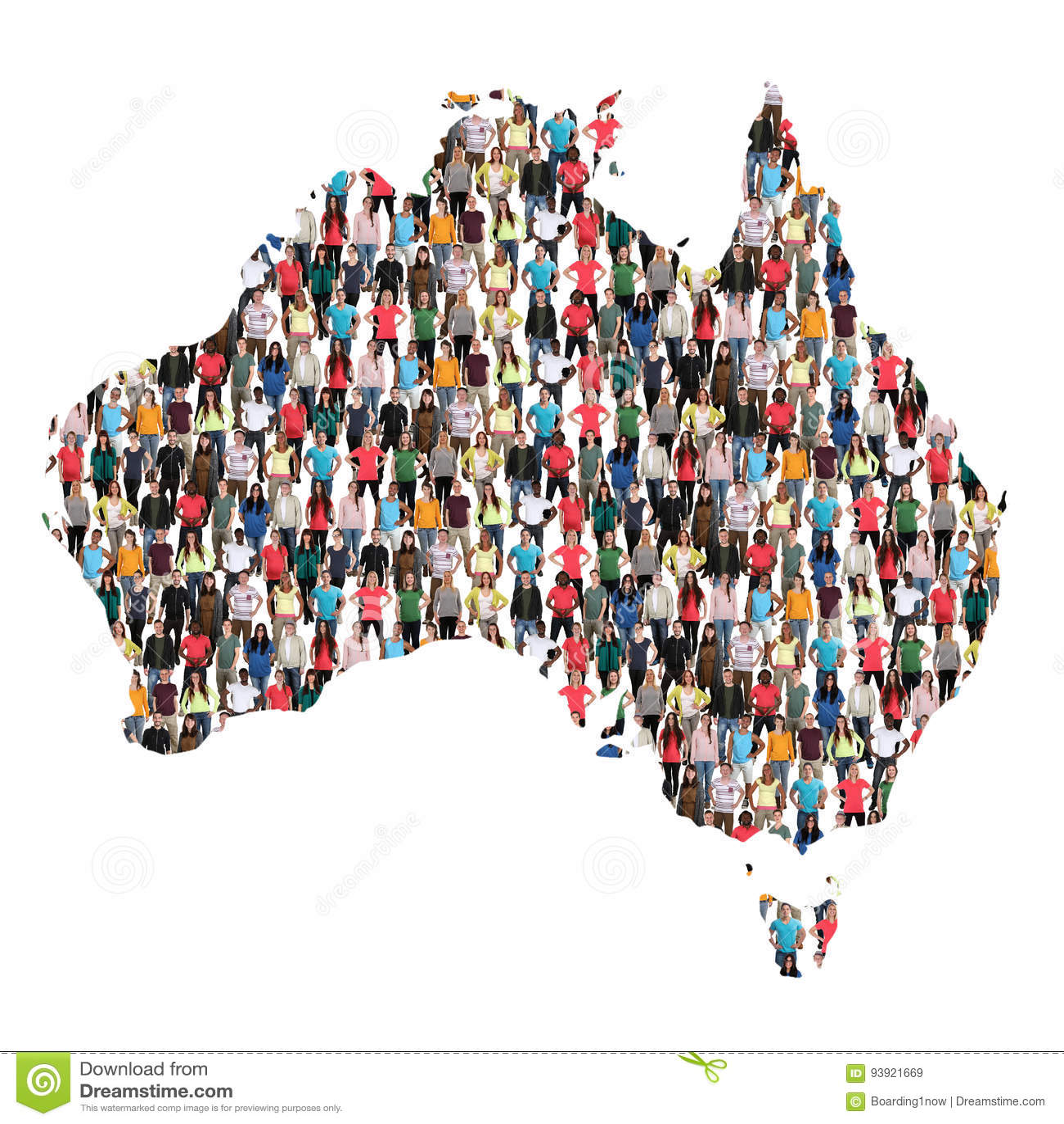 Immigrat multicultural de la integración del grupo de personas del mapa de Australia
