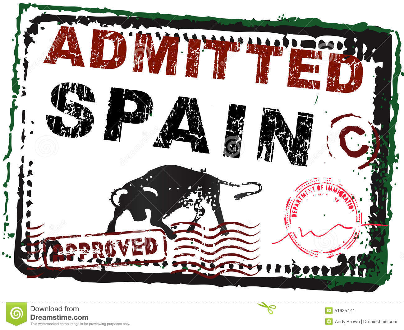 Immigration Stamp - Spain With Stamps Stock Vector - Image: 51935441