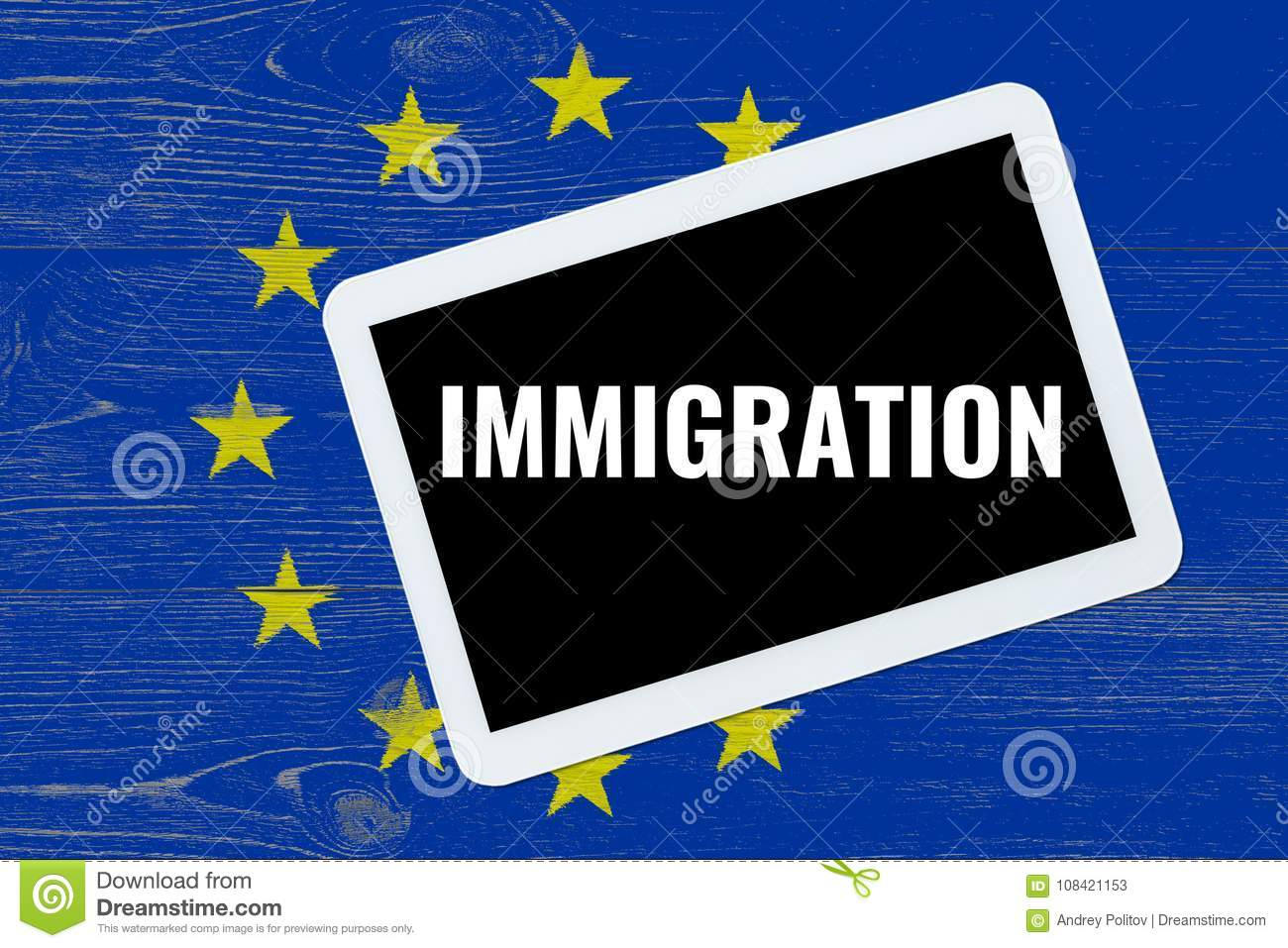 Immigration, text on tablet pc over eu flag