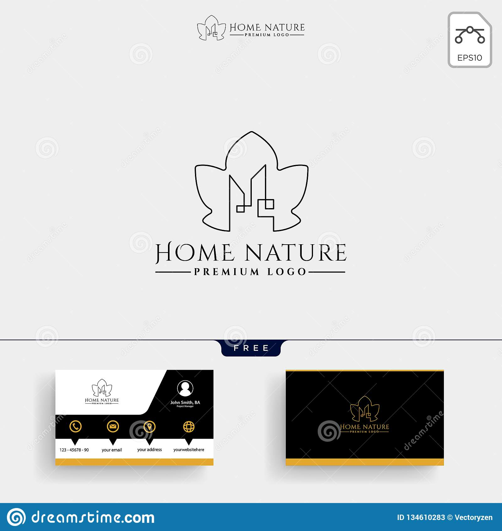 Immobiliers Calibre De Logo Nature Feuille Et Carte Visite Professionnelle
