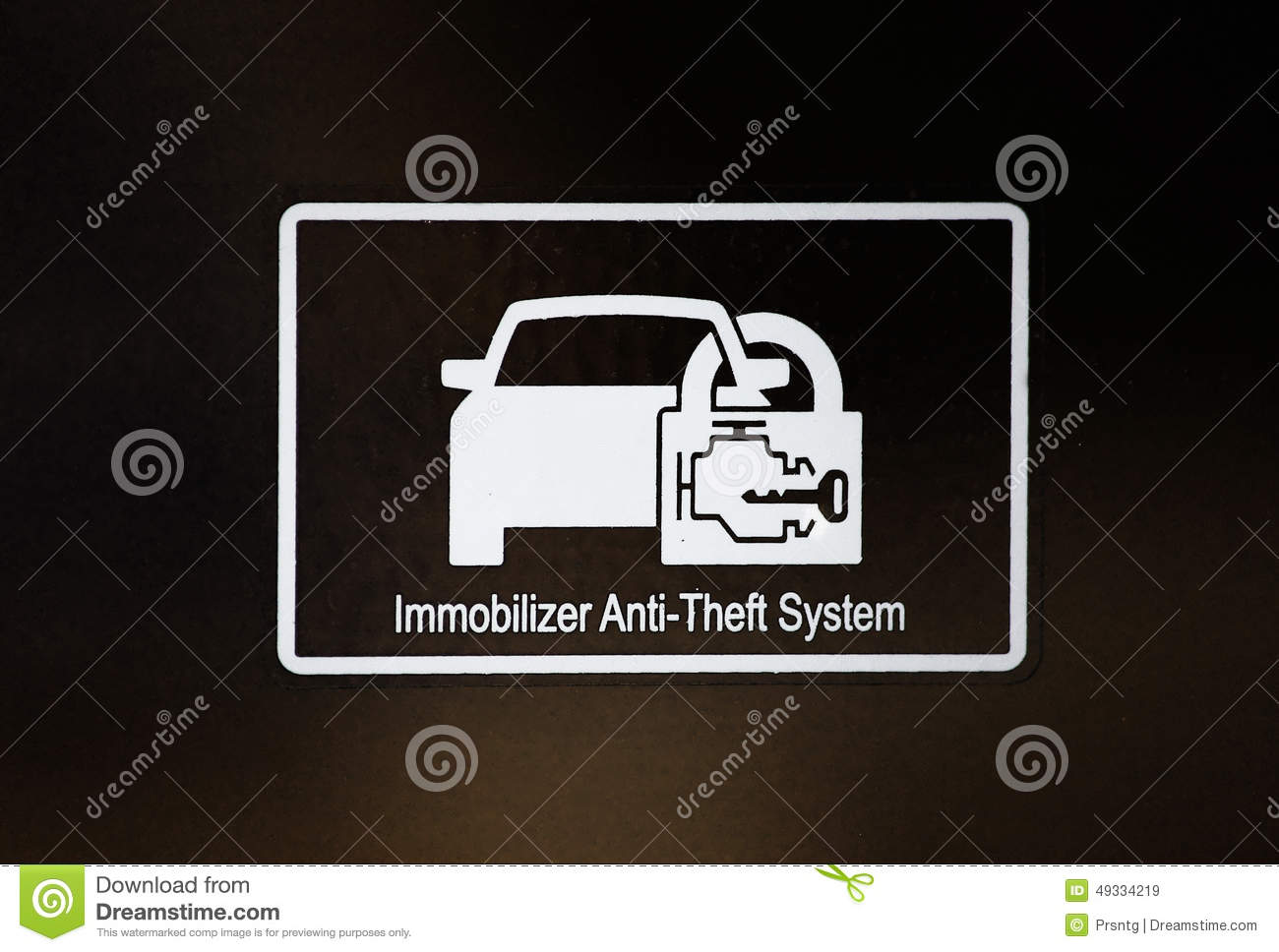 Immobilizer sign in car stock image  Image of vehicle - 49334219