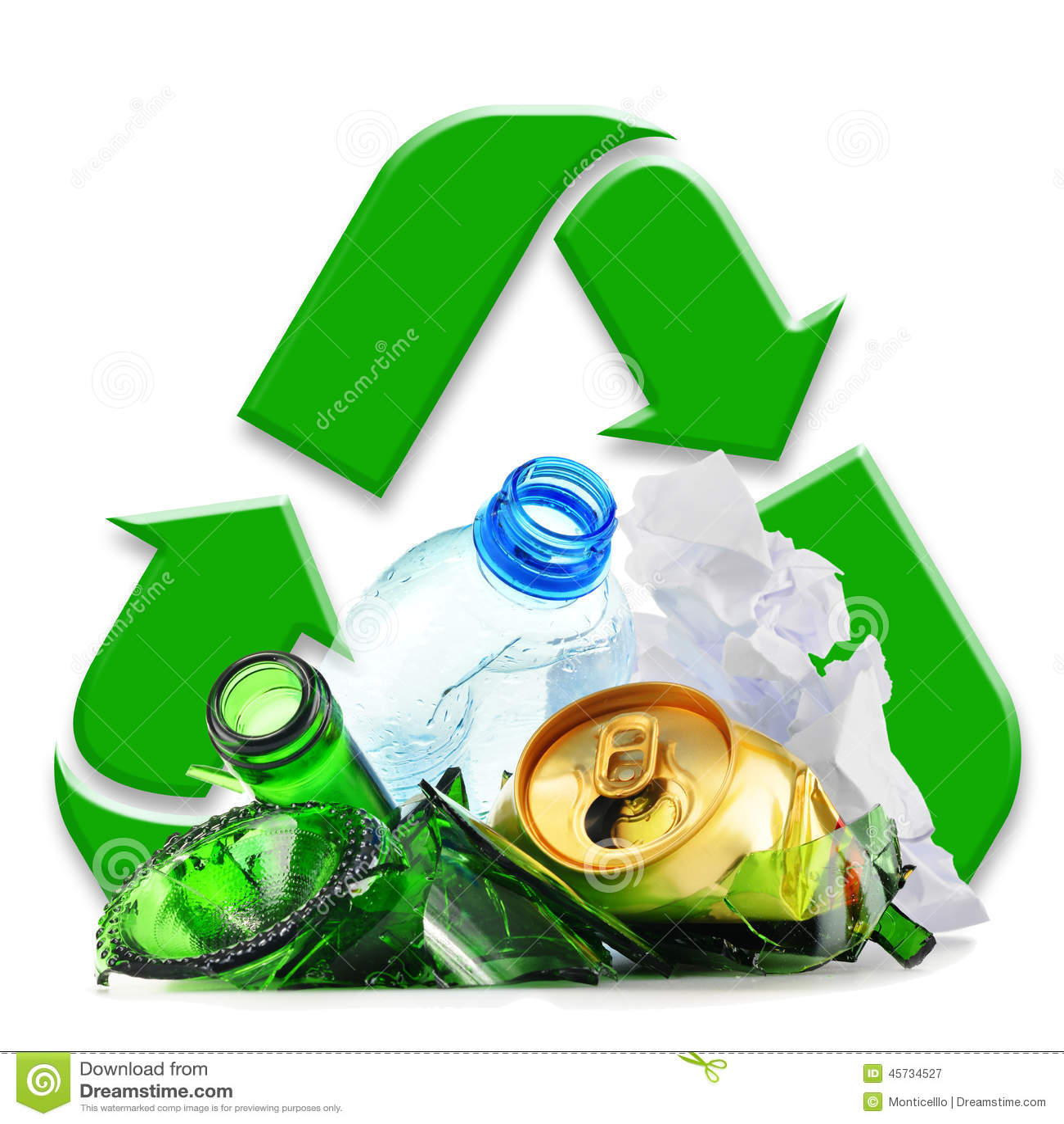 Immondizia riciclabile che consiste del metallo e della carta di plastica di vetro