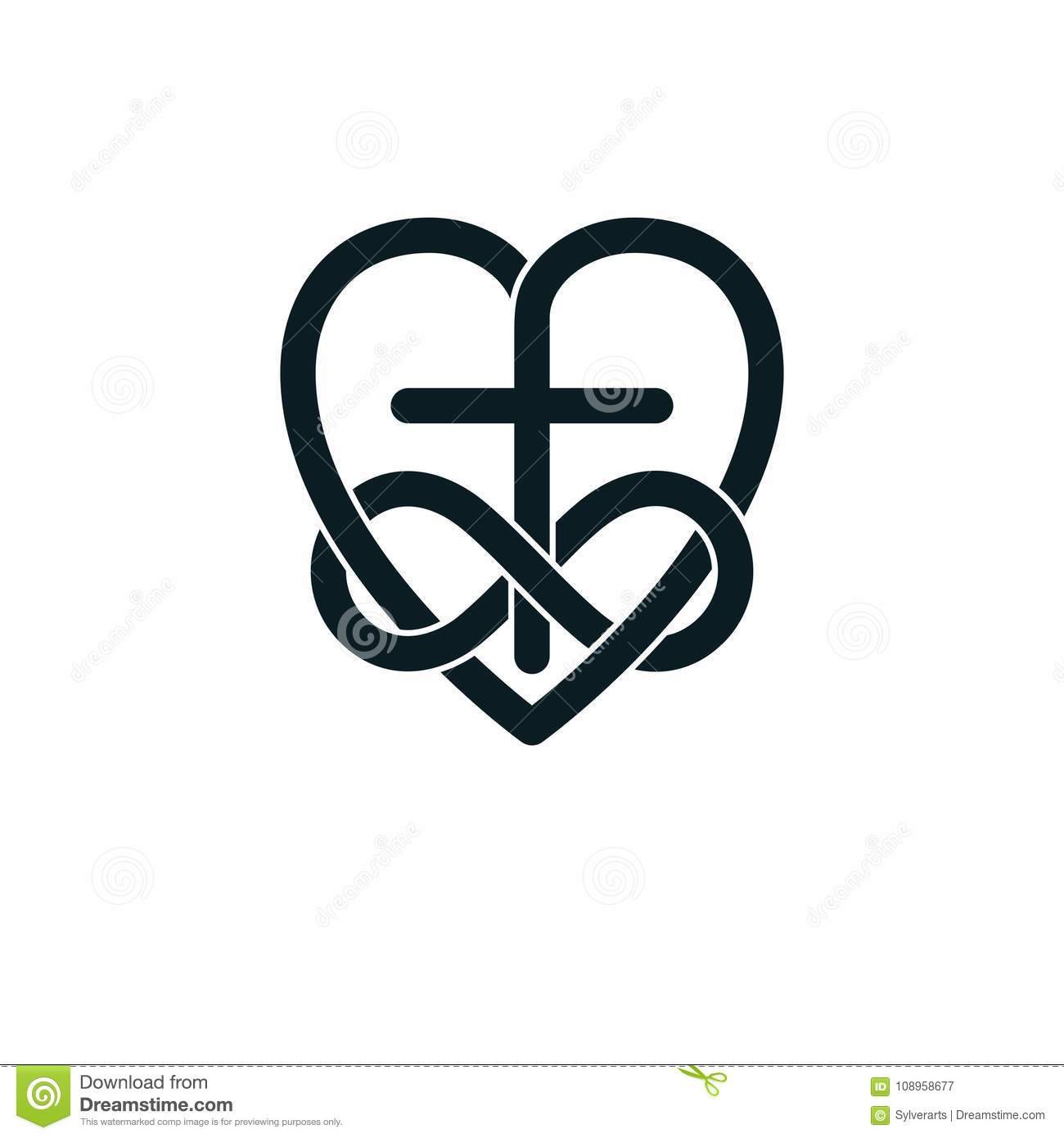 Immortal Love Of God Conceptual Symbol Combined With Infinity Lo