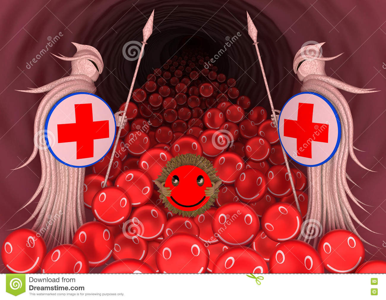 Immune System Protects The Body Against The Virus Got Into The Blood