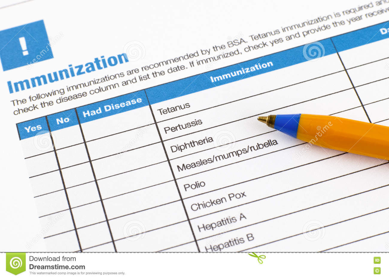 Download Immunization Application Form Stock Image - Image of vaccination, vaccine: 73919035