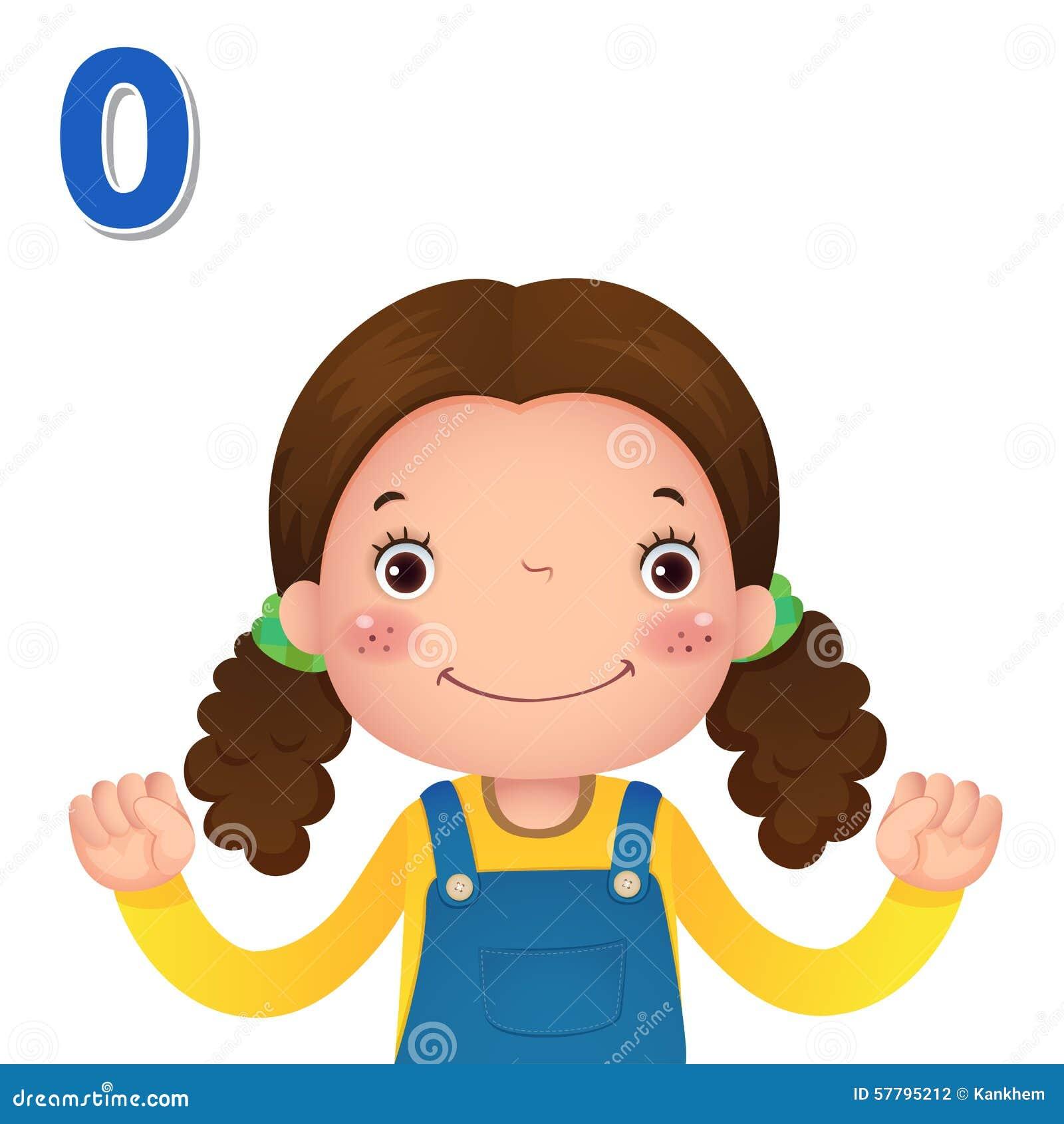 Impari il numero ed il conteggio con la mano dei kid's che mostra il numero z
