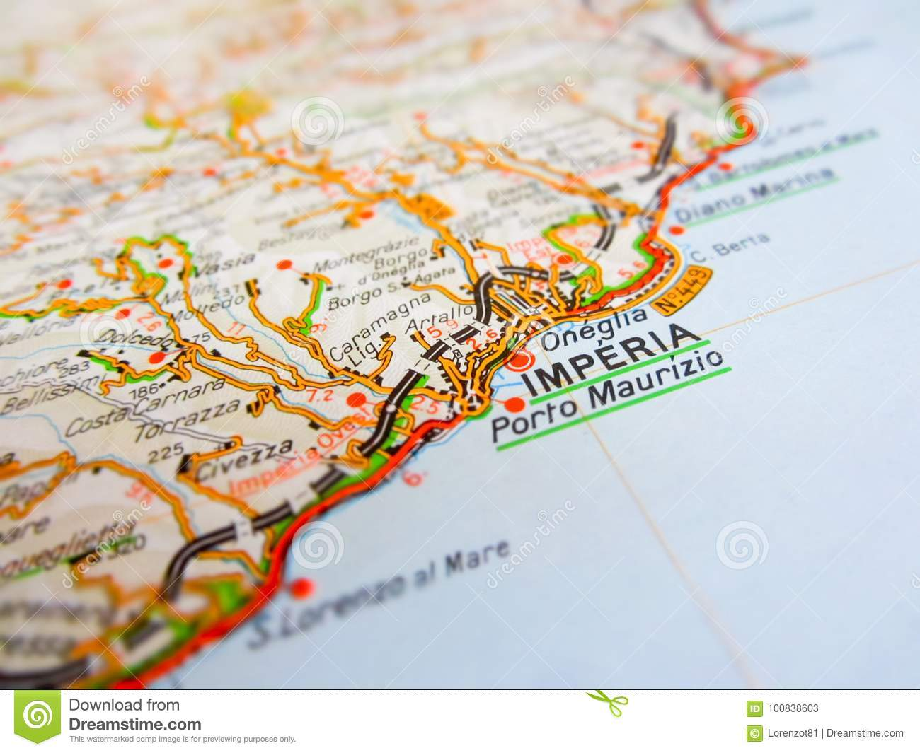 Imperia City Over A Road Map Italy Stock Image Image Of