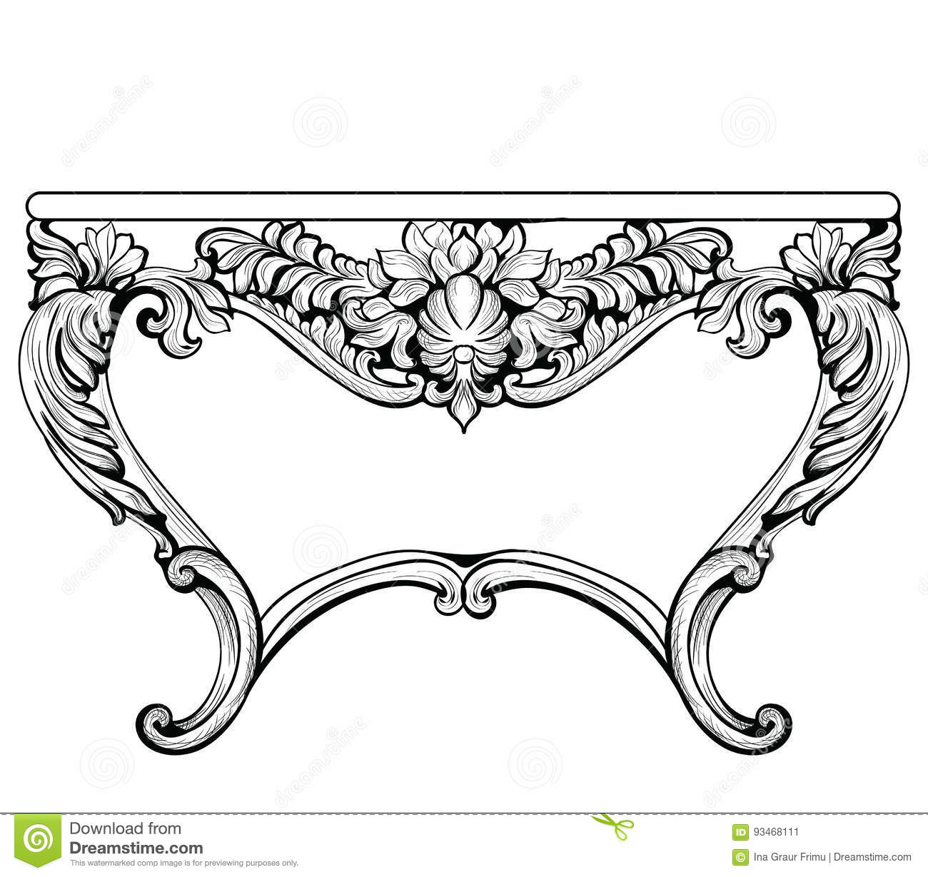 Baroque Imperial Luxury Style Furniture Cartoon Vector