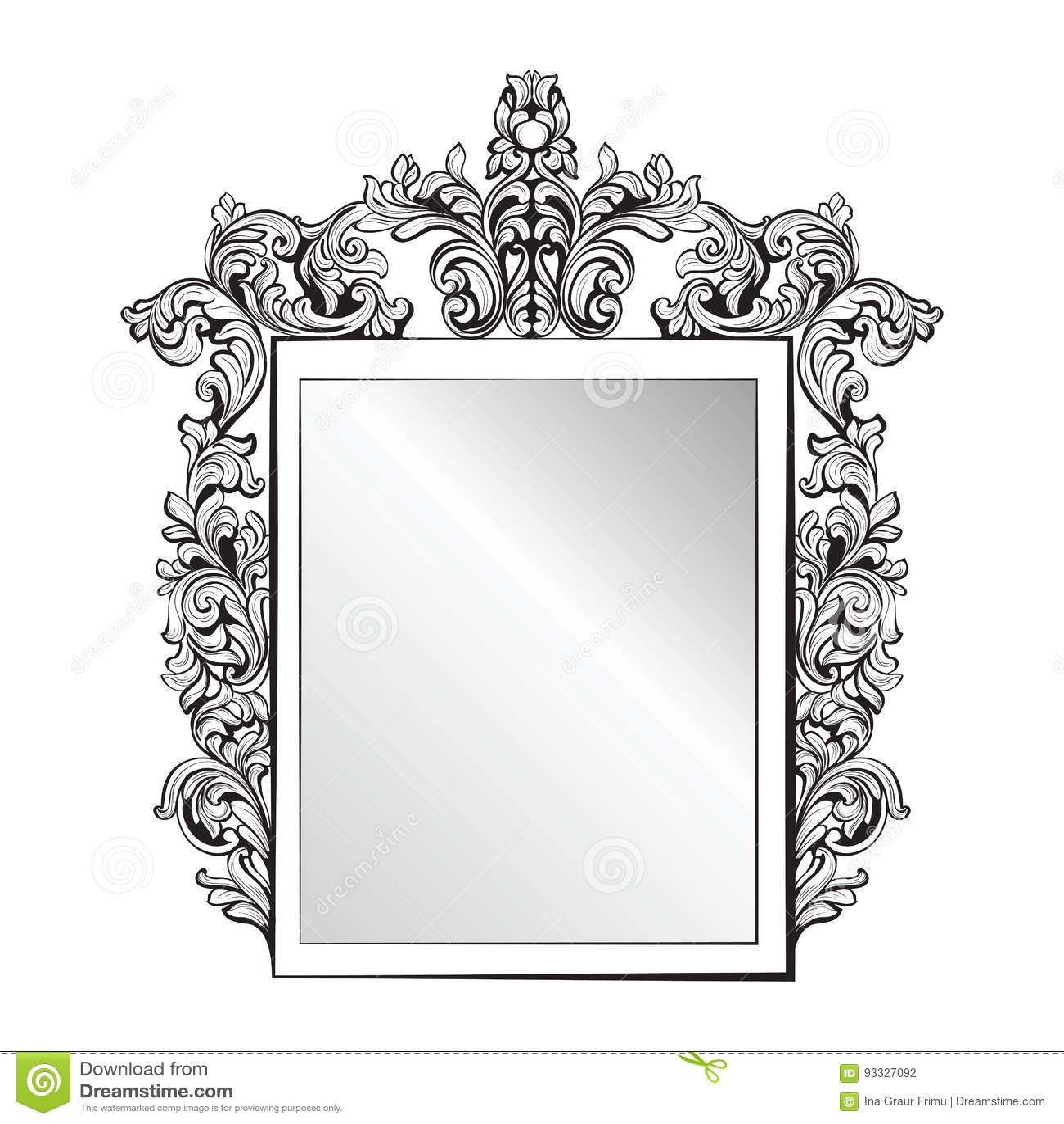 Wilko baroque mirror silver 87x62cm -  Imperial Baroque Mirror Frame Vector French Luxury Rich Intricate