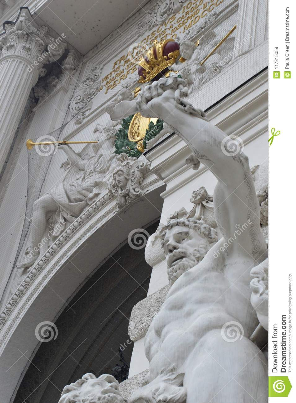 Hofburg Palace St Michael`s Wing gateway and statue detail Vienna