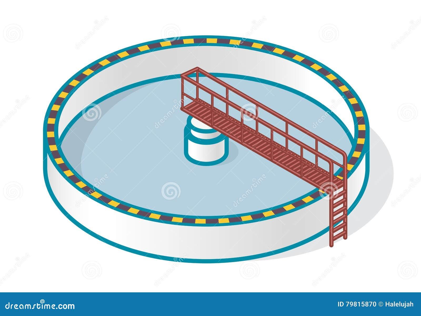 Impianto di trattamento delle acque reflue nel simbolo stilizzato di vettore del profilo Infographics isometrico