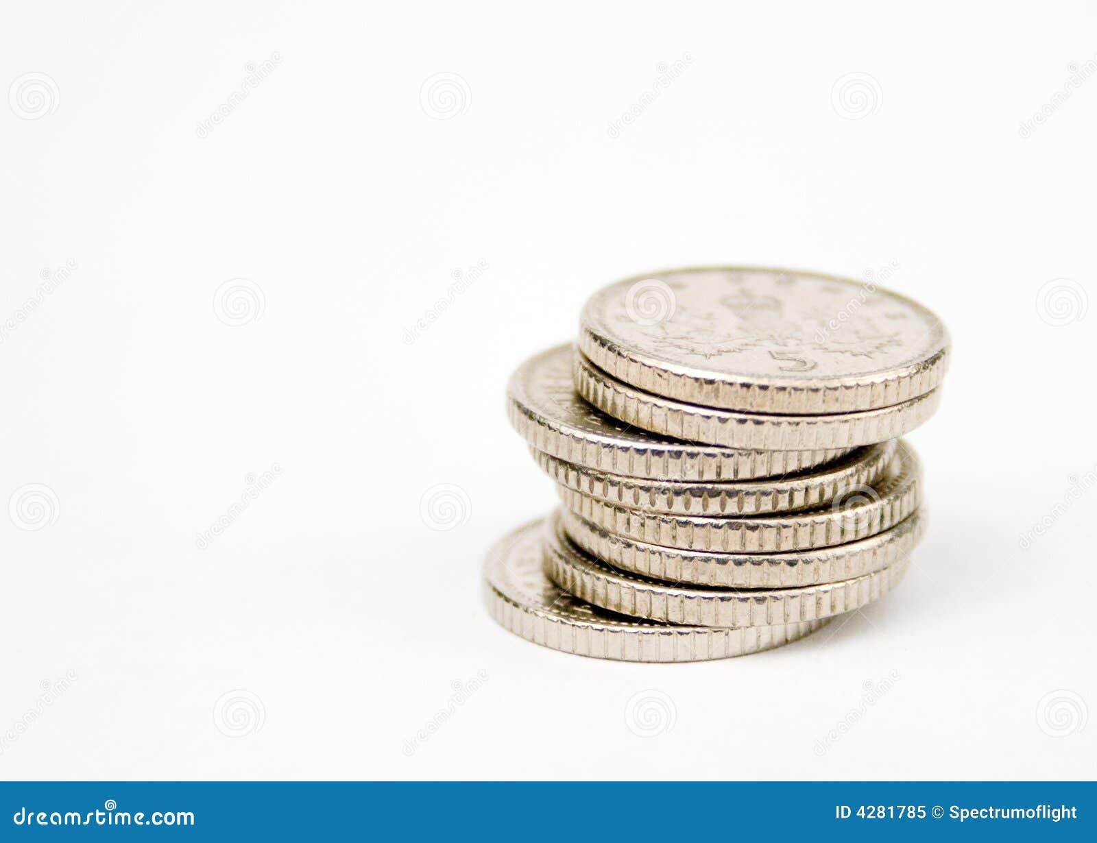 Impilato 5 monete dei penny