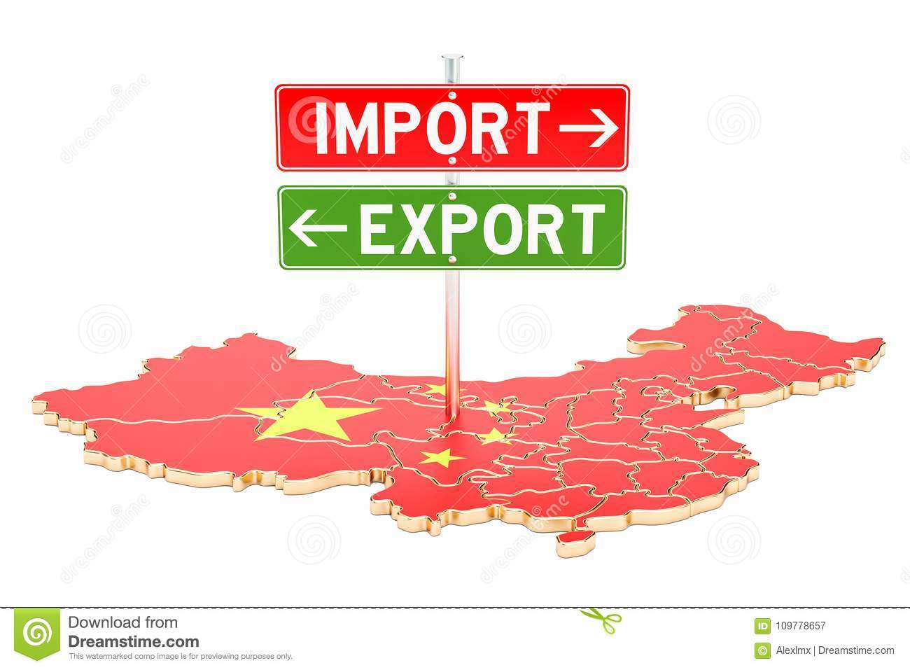 Import And Export In China Concept, 3D Rendering Stock