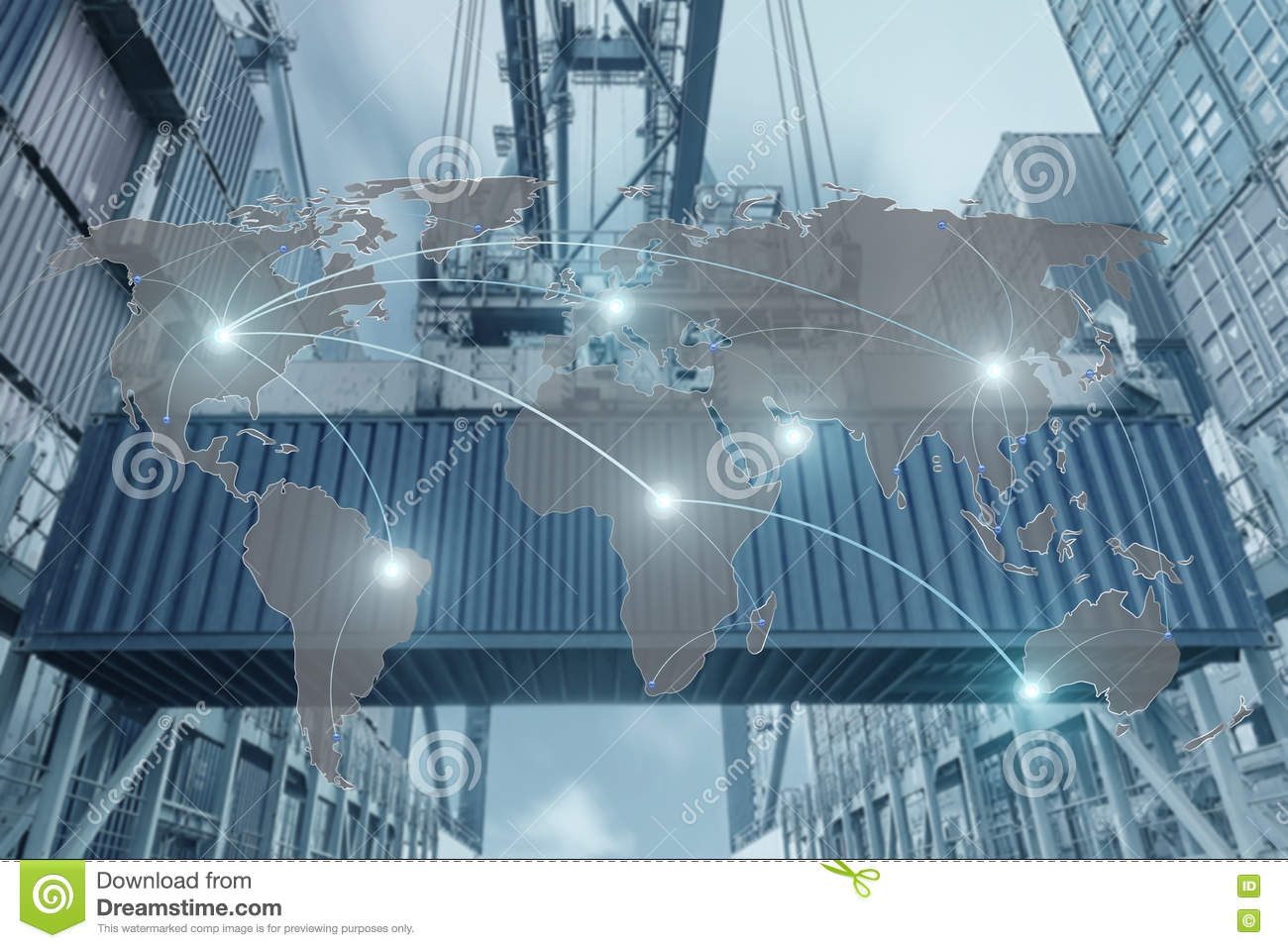Import, Export, Logistics concept - Map global partner connection of Container Cargo freight ship for Logistic Import Export back
